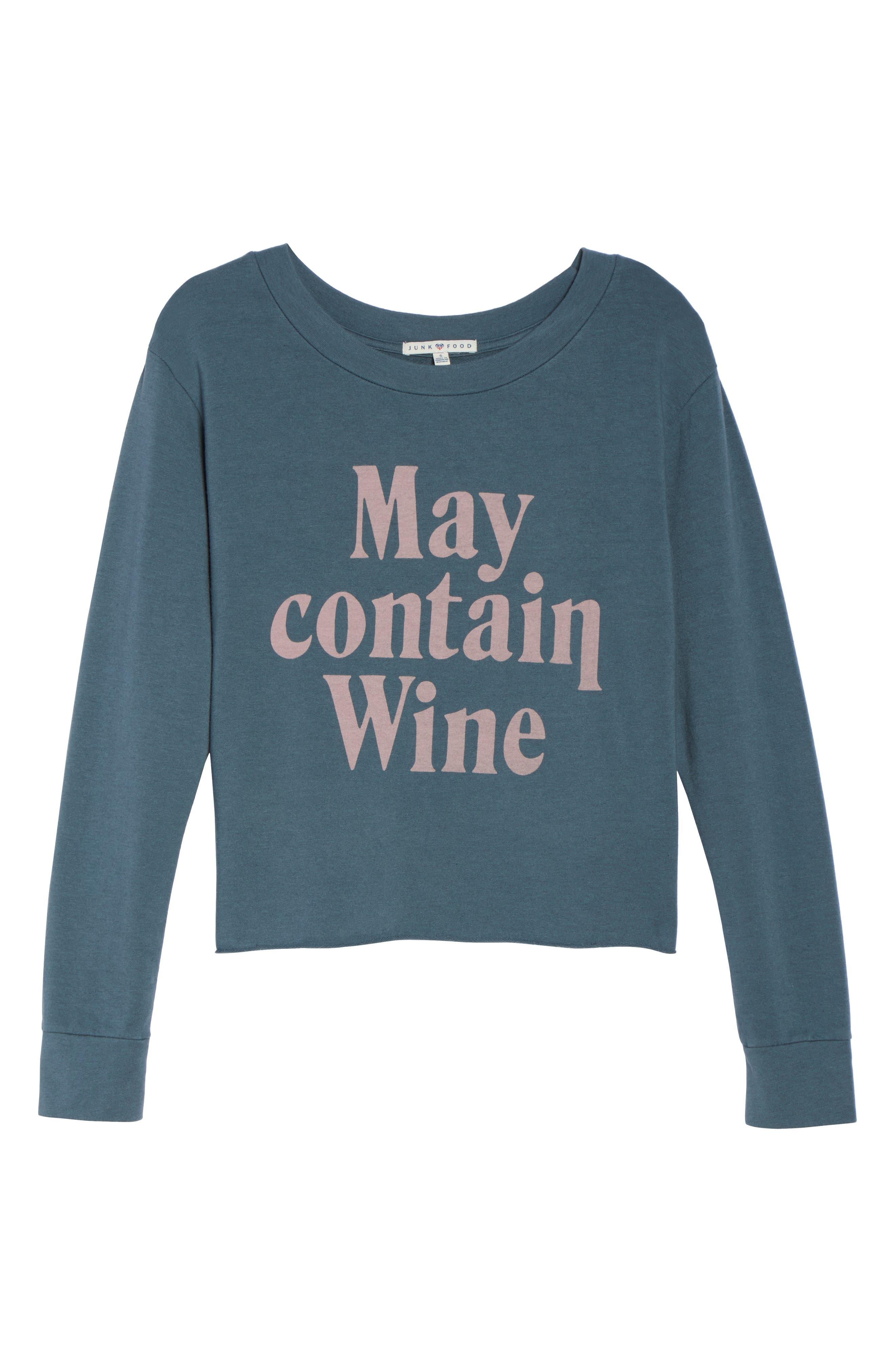 May Contain Wine Sweatshirt,                             Alternate thumbnail 4, color,                             Gunmetal