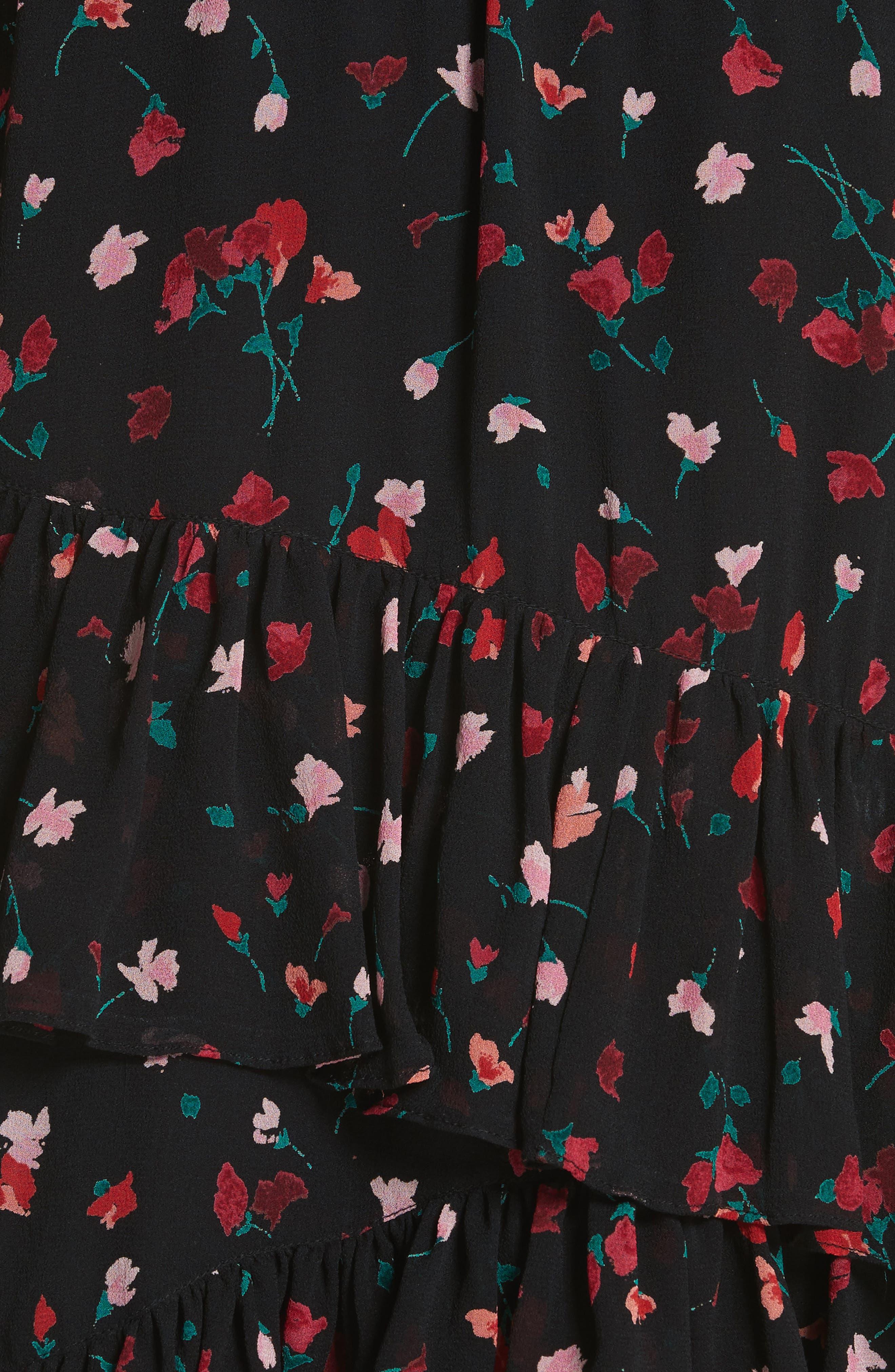 Gorowen Floral Silk Skirt,                             Alternate thumbnail 5, color,                             Caviar