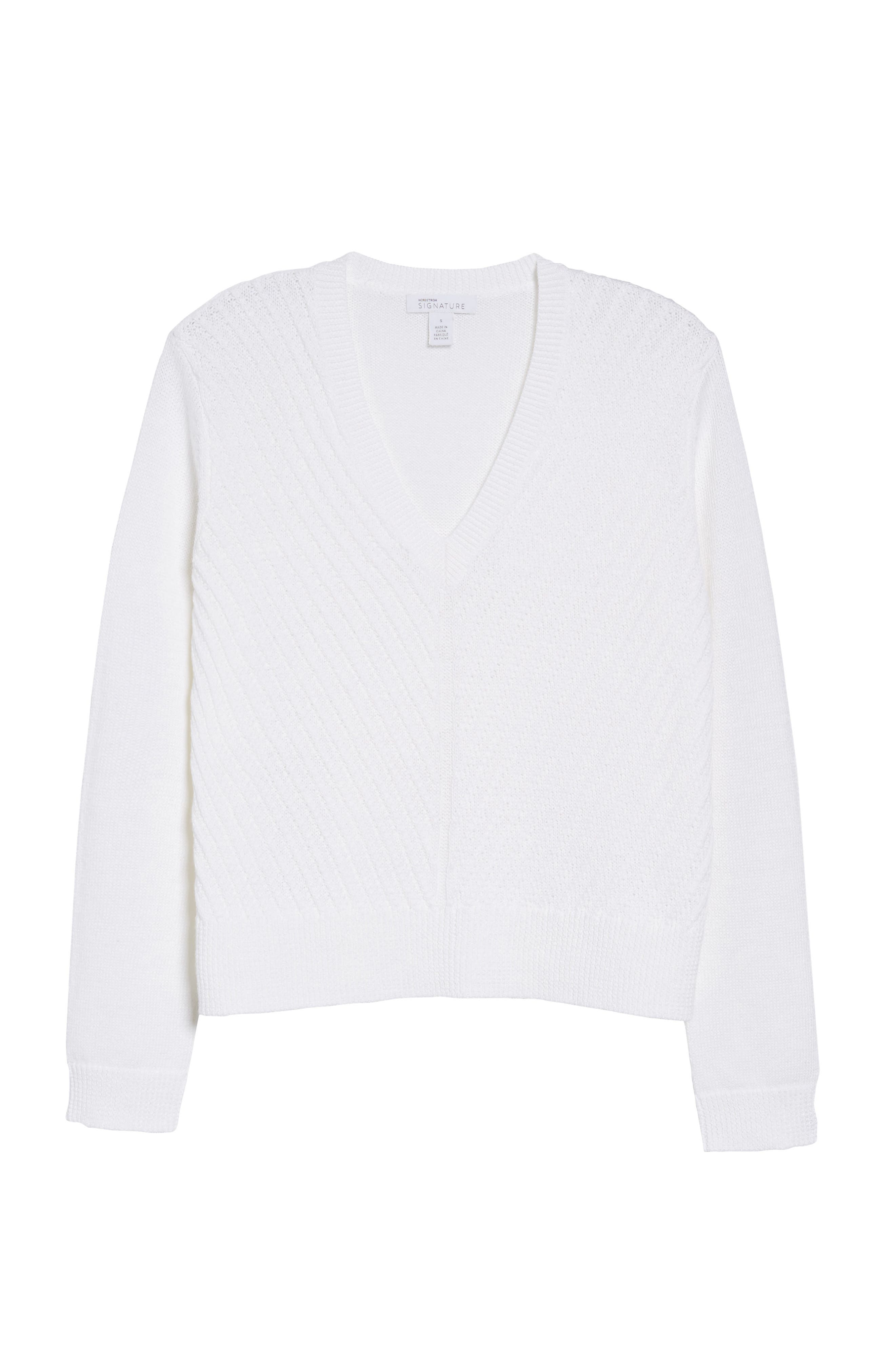 Textured Front V-Neck Sweater,                             Alternate thumbnail 6, color,                             White