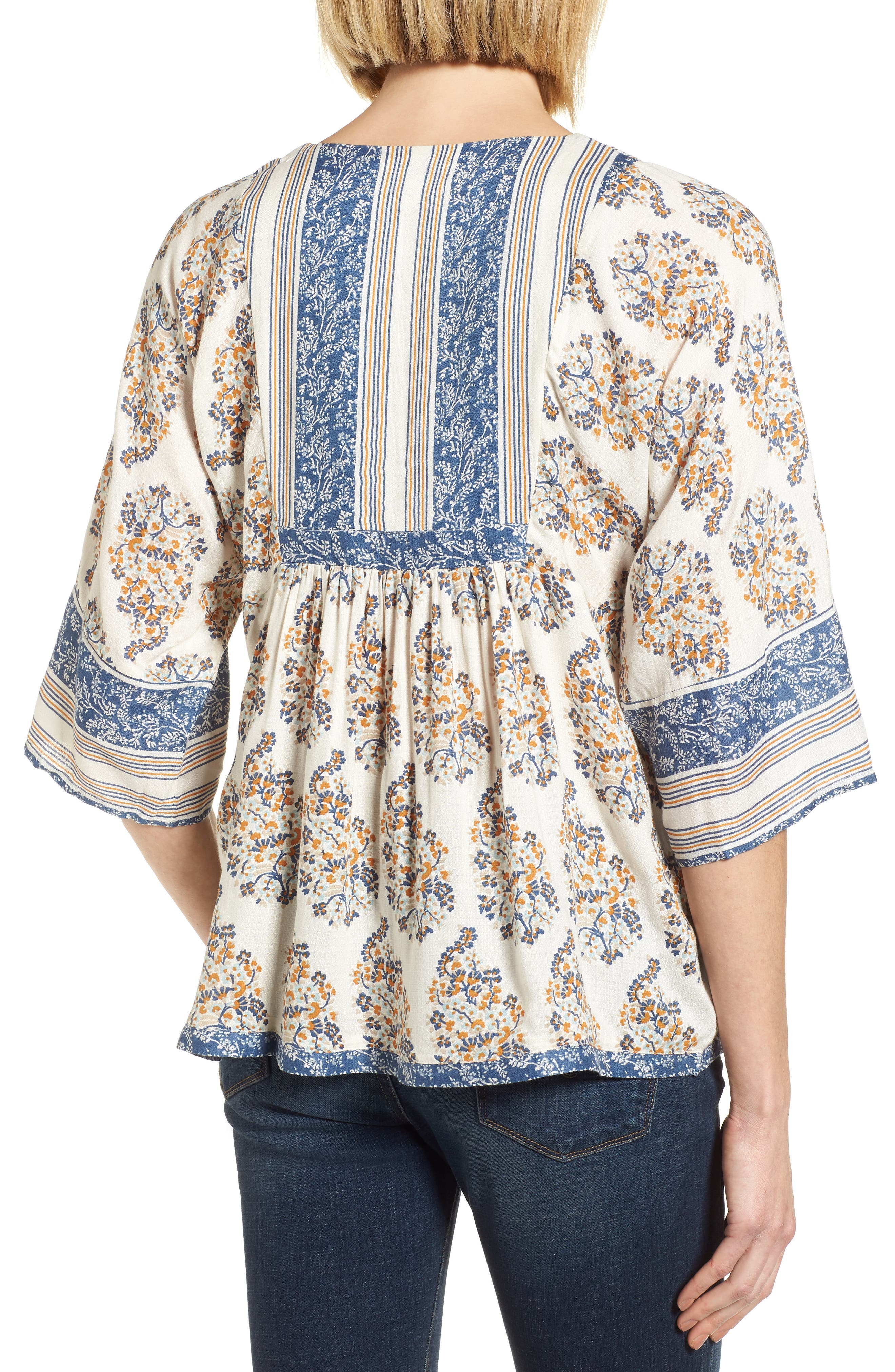 Alternate Image 2  - Lucky Brand Mixed Print Peasant Top