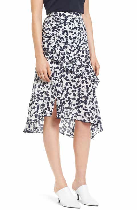 Lewit Ruffled Print Silk Skirt
