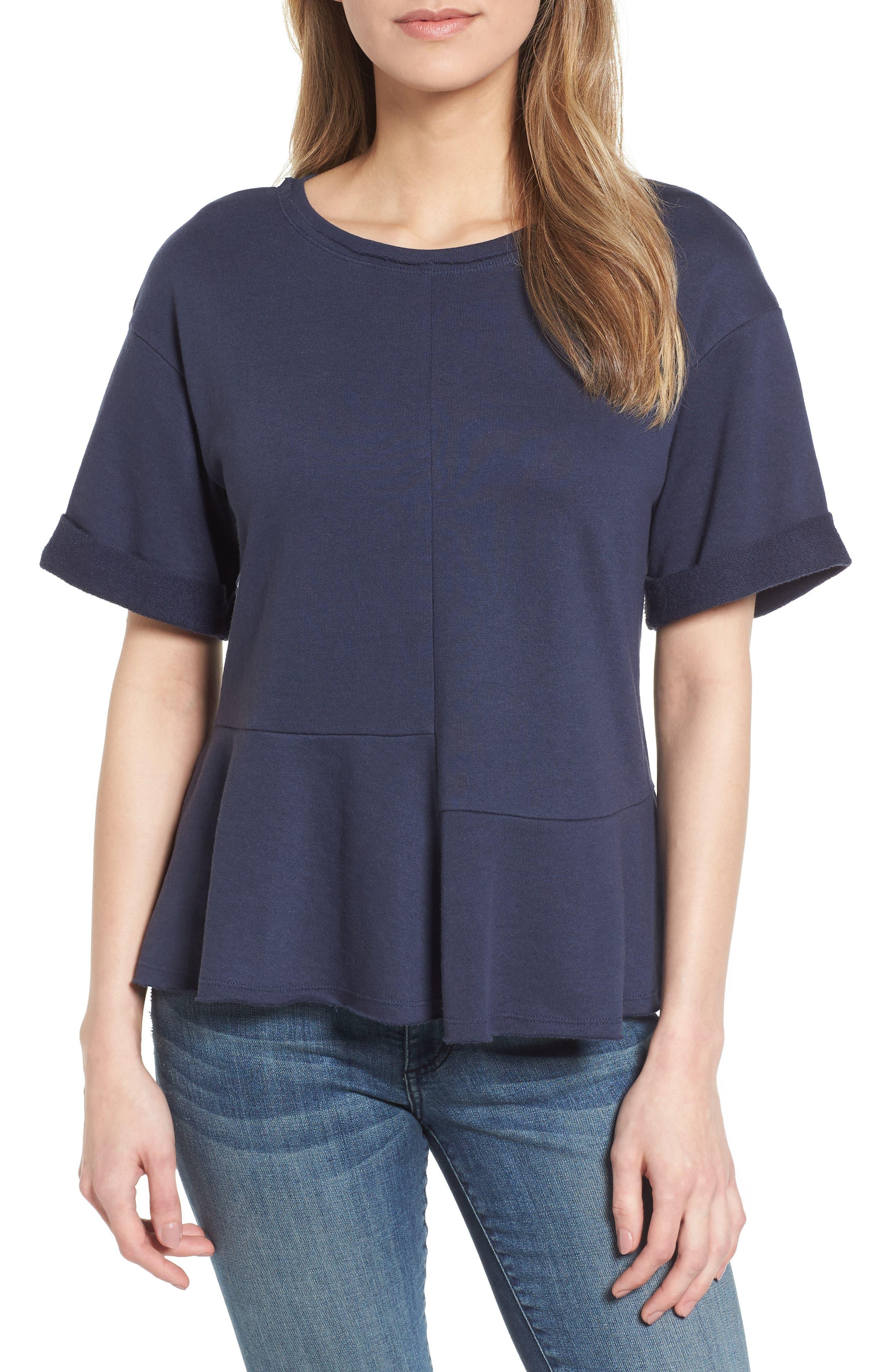 Caslon® Mixed Seam Short Sleeve Sweatshirt (Regular & Petite)