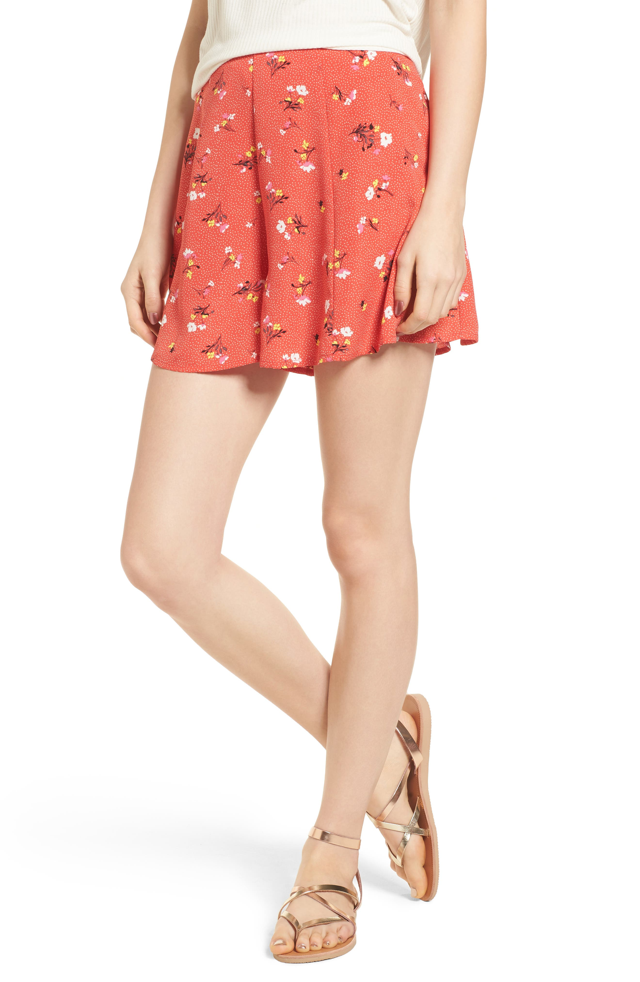 Print High Waist Shorts,                         Main,                         color, Red Dot Floral