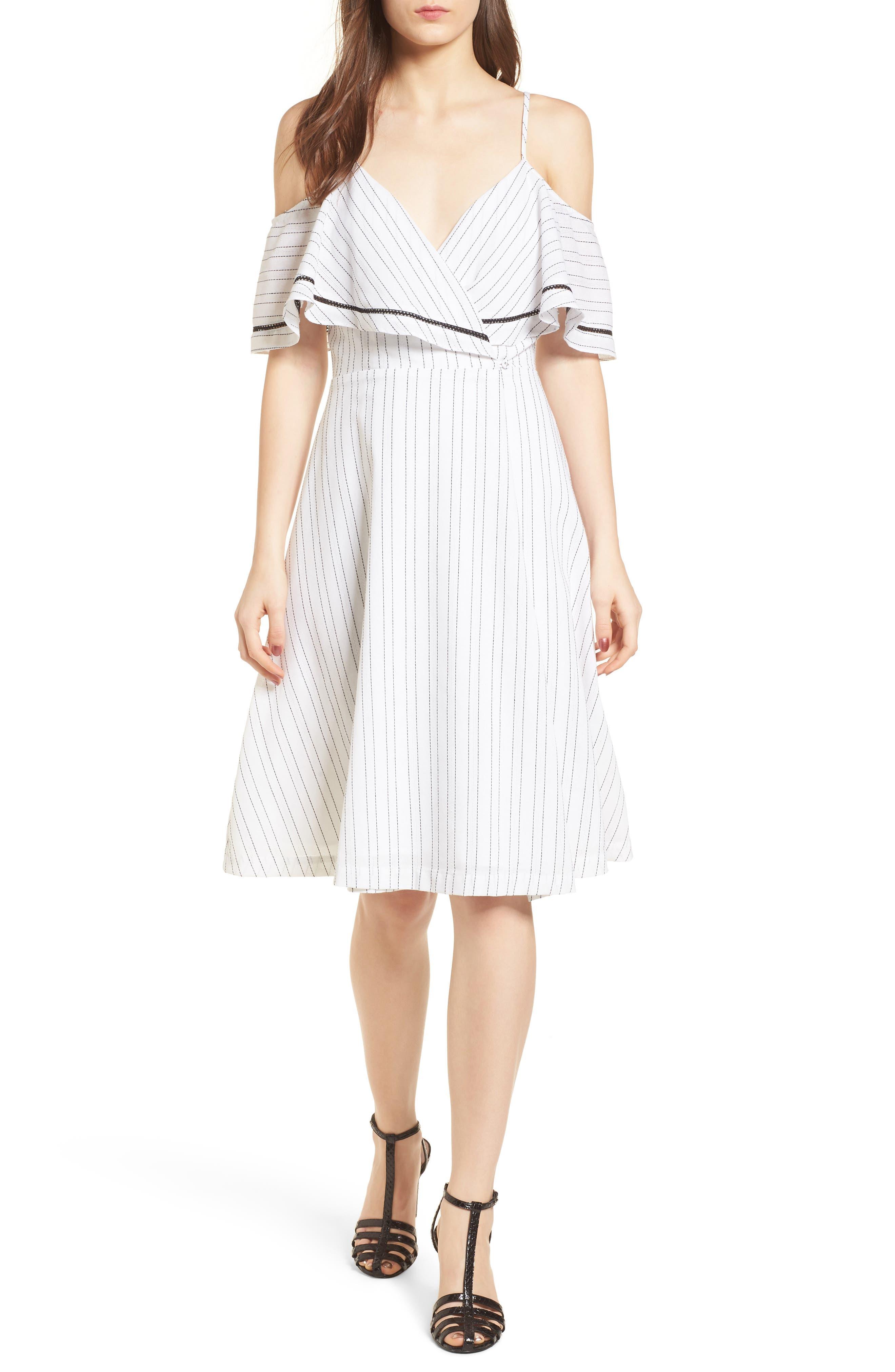 Cold Shoulder Midi Dress,                         Main,                         color, White/ Black