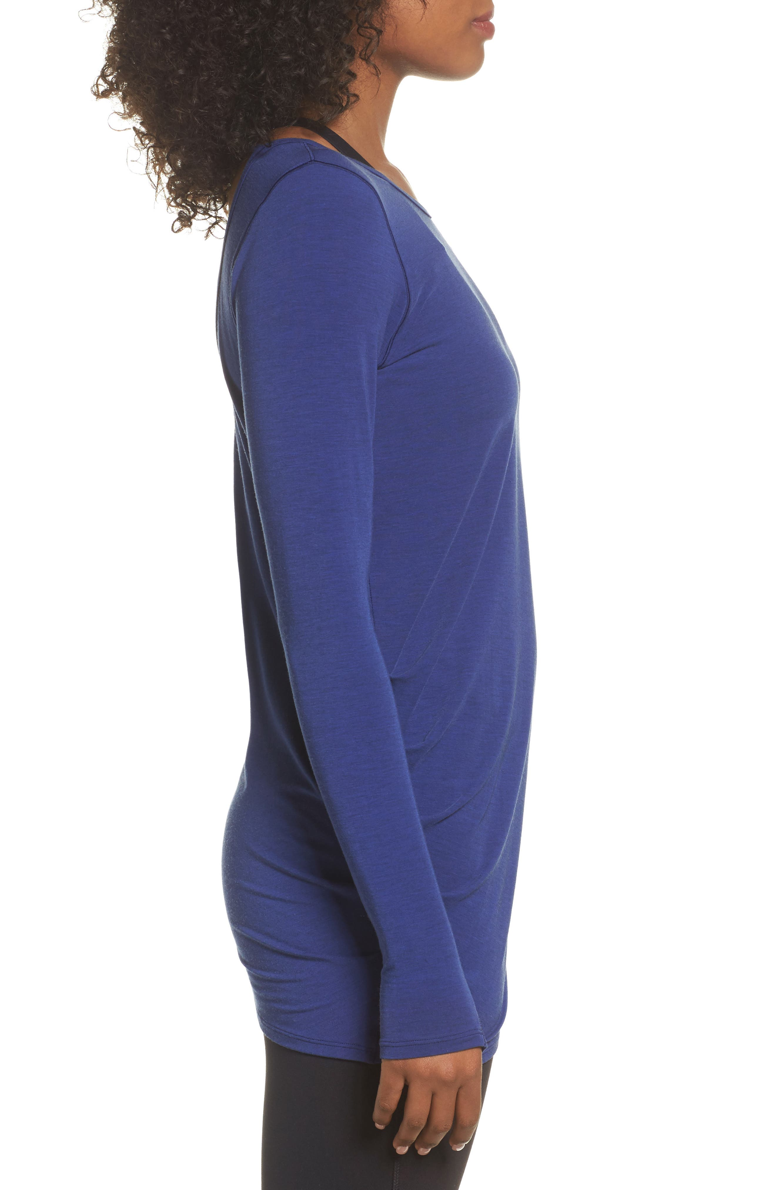 Long Sleeve Layering Tee,                             Alternate thumbnail 3, color,                             Tempest Heather
