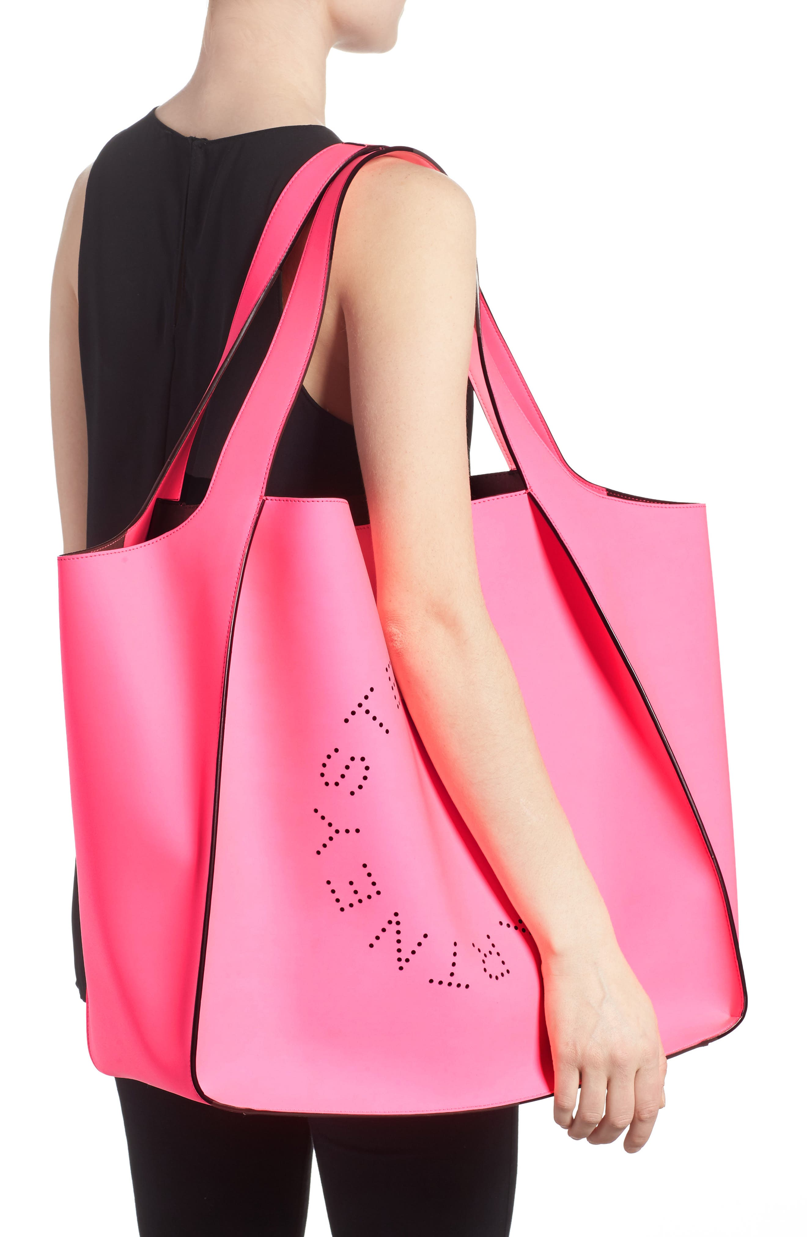Extra Large Perforated Logo Faux Leather Tote,                             Alternate thumbnail 2, color,                             Pink Fluo