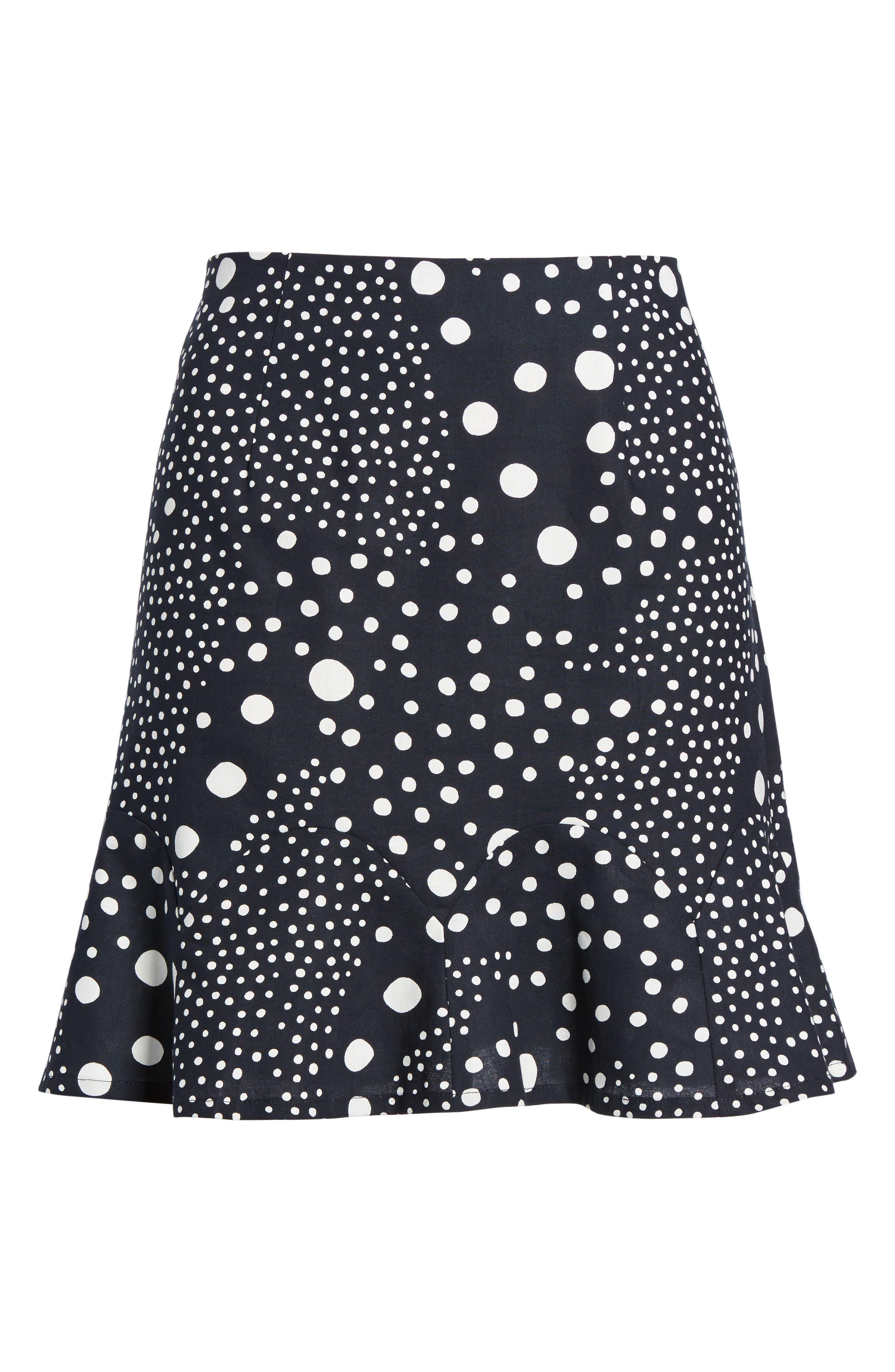 Lagoon Polka Dot Miniskirt,                             Alternate thumbnail 8, color,                             Navy Pebble