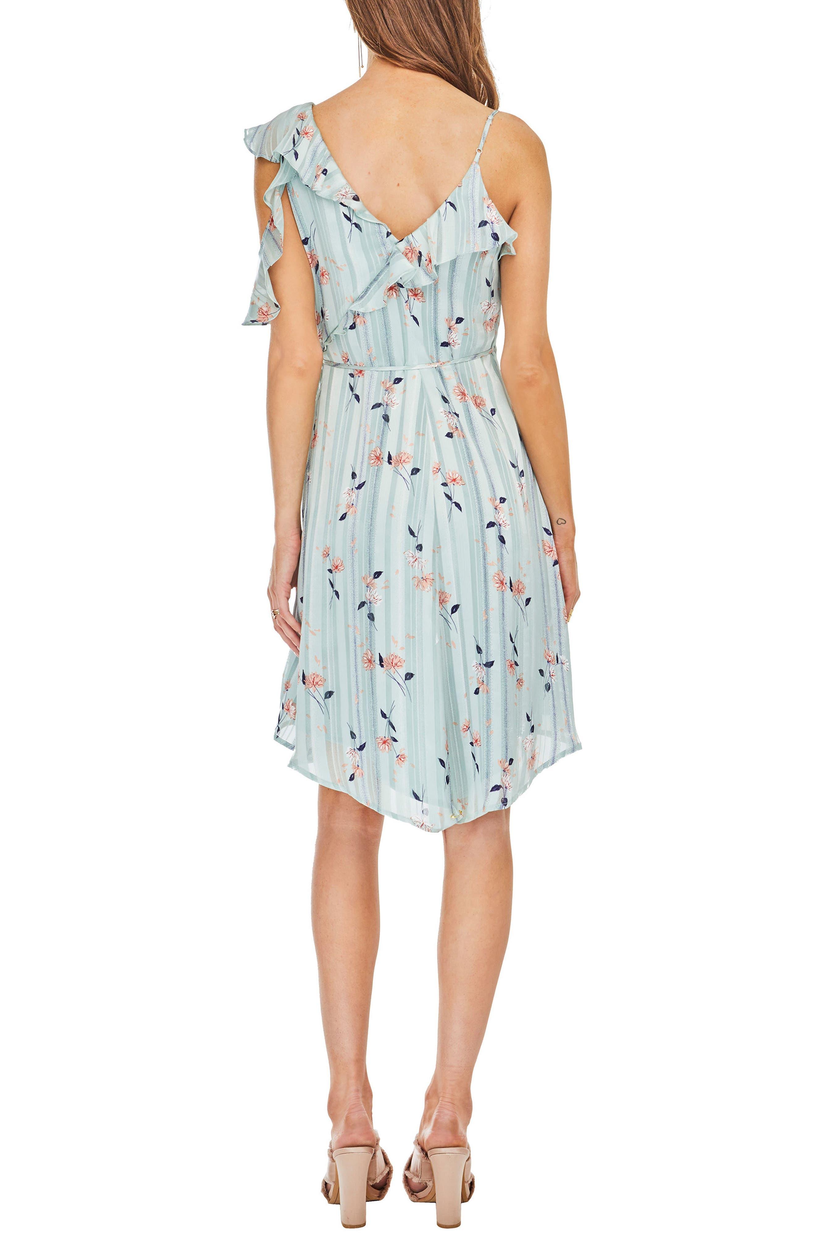 Josie Ruffle Dress,                             Alternate thumbnail 2, color,                             Mint Satin Floral