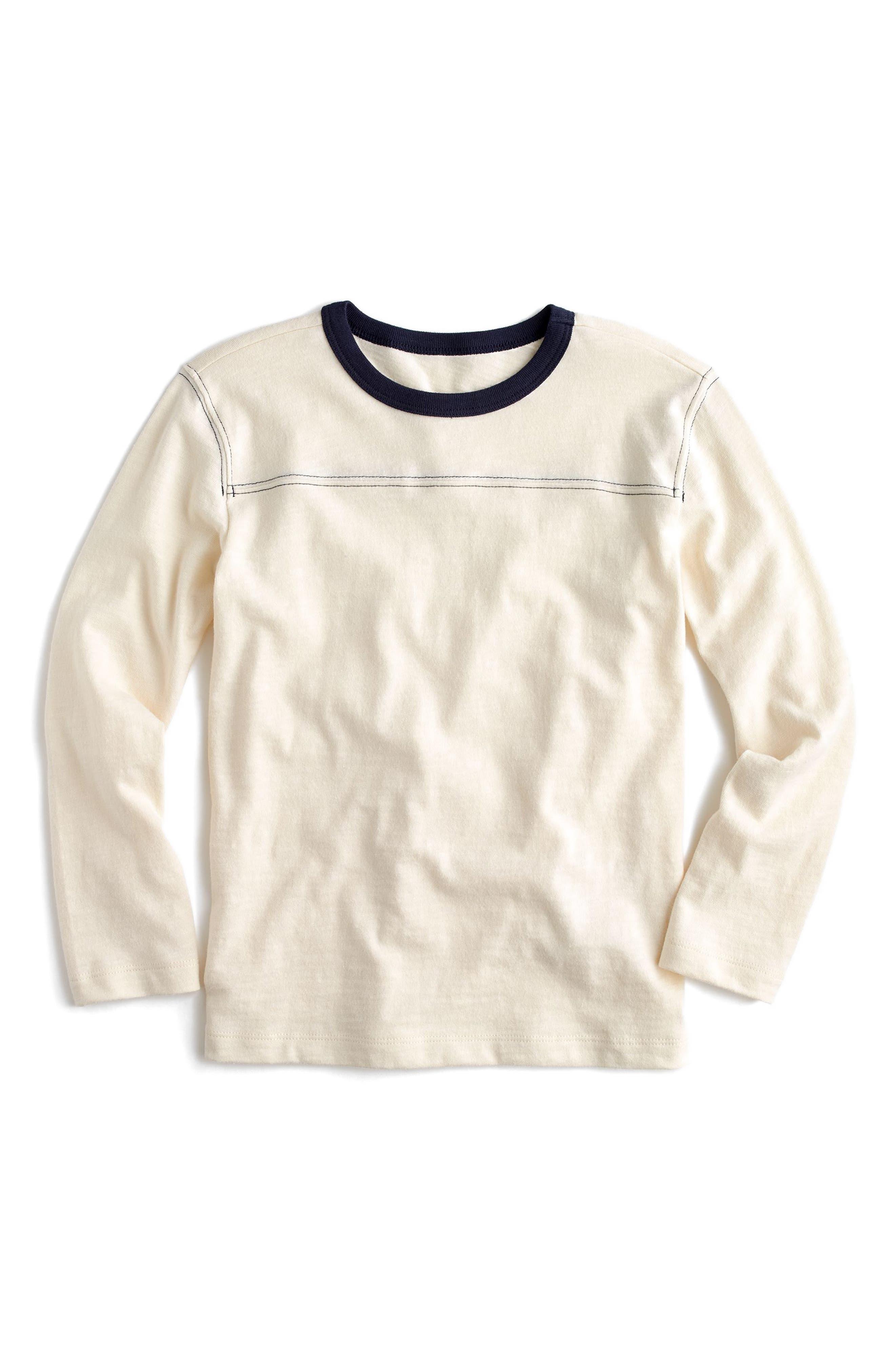 Long Sleeve Ringer T-Shirt,                         Main,                         color, Washed Sand