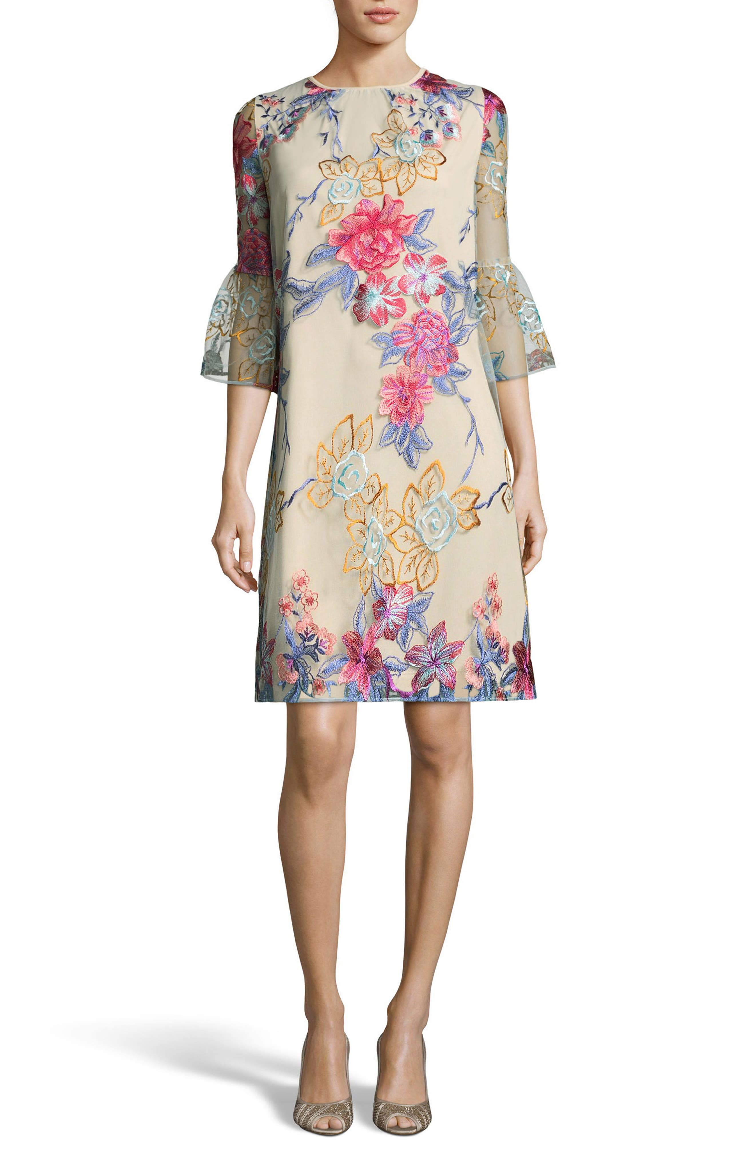 Floral Embroidered A-Line Dress,                         Main,                         color, Blue/ Nude