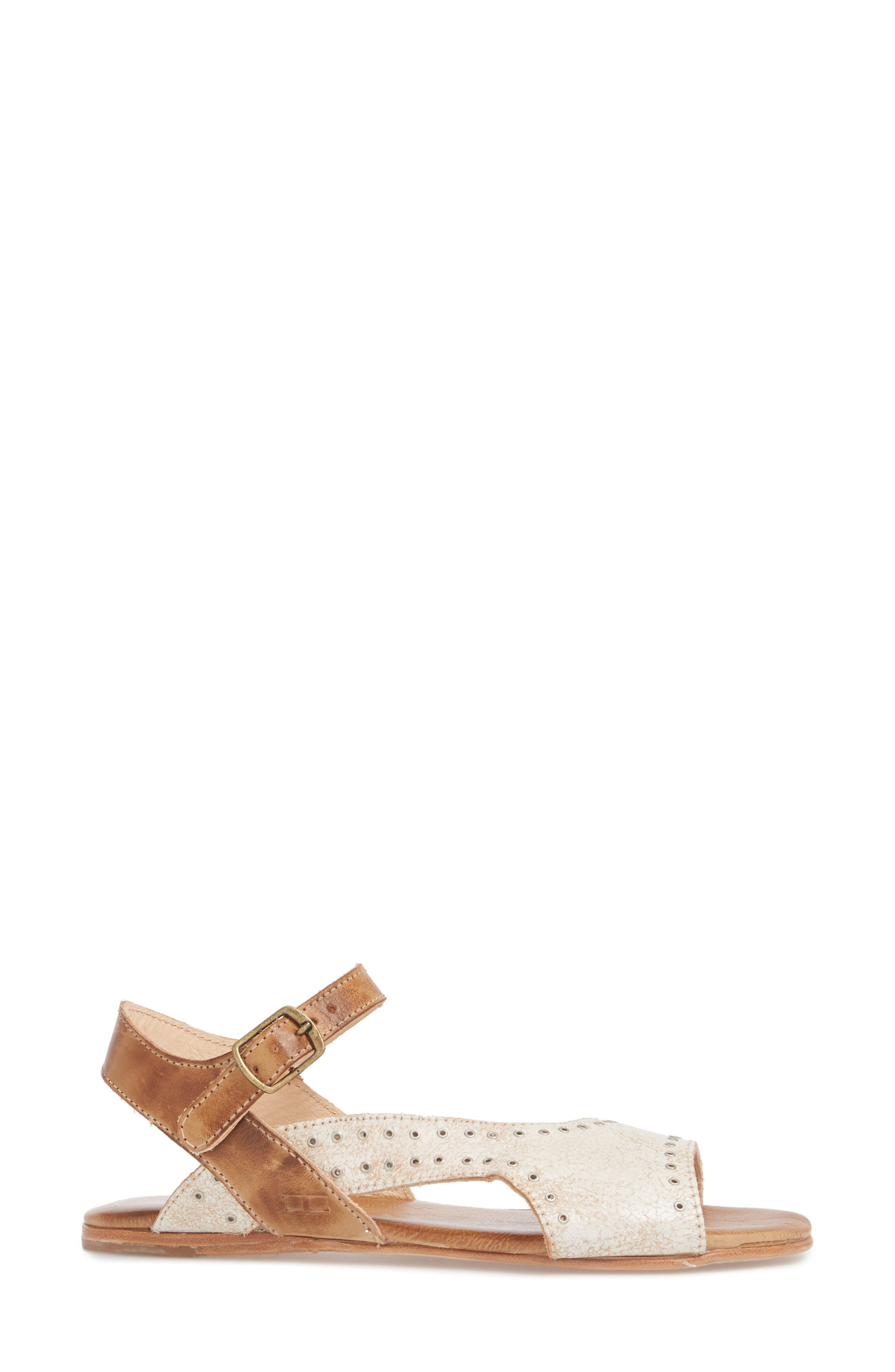 Auburn Flat Sandal,                             Alternate thumbnail 3, color,                             Nectar/ Tan Leather