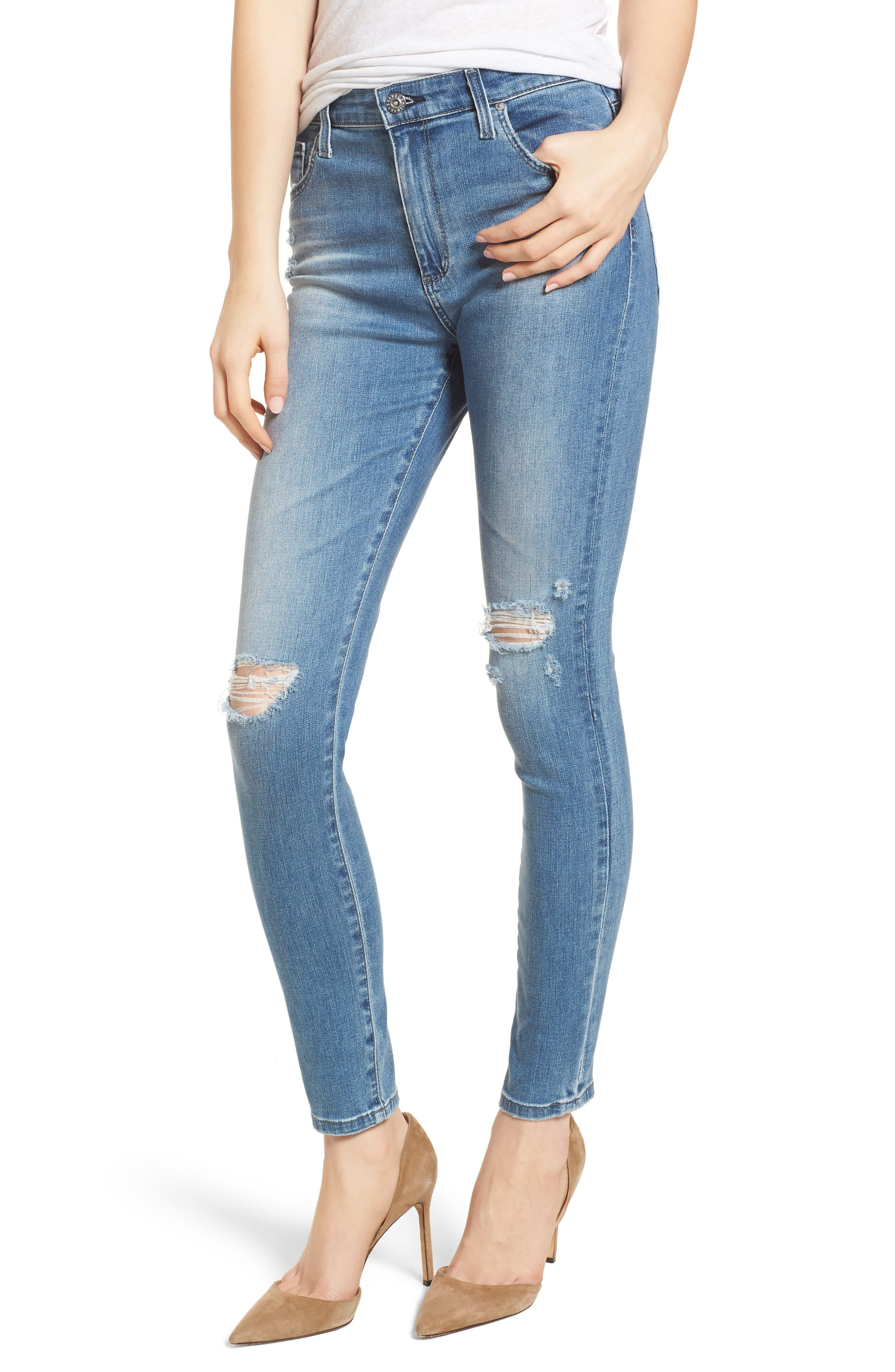 AG The Farrah High Waist Ankle Skinny Jeans (Sea Sprite Destructed)