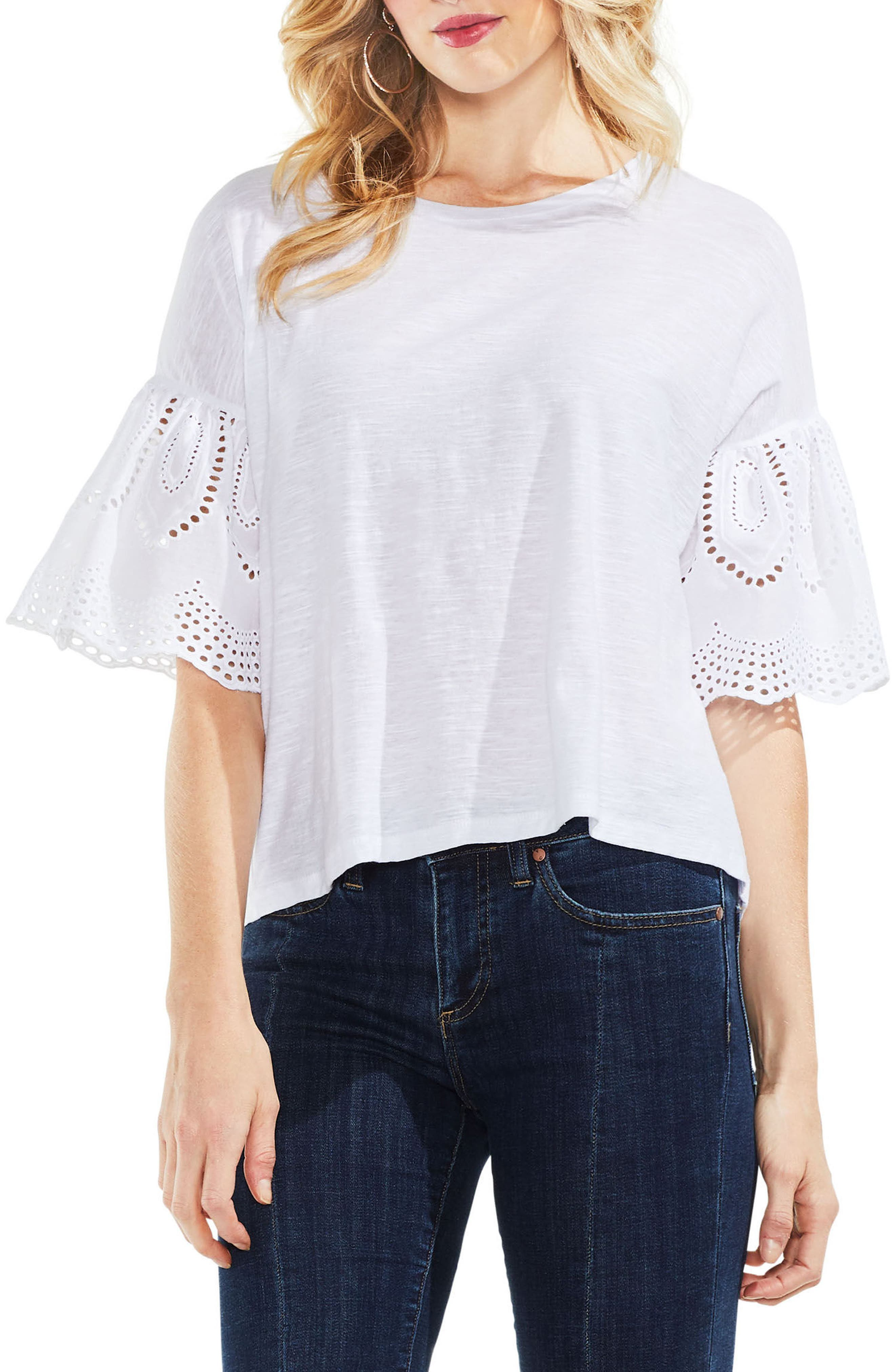 Lace Eyelet Ruffle Sleeve Tee,                         Main,                         color, Ultra White