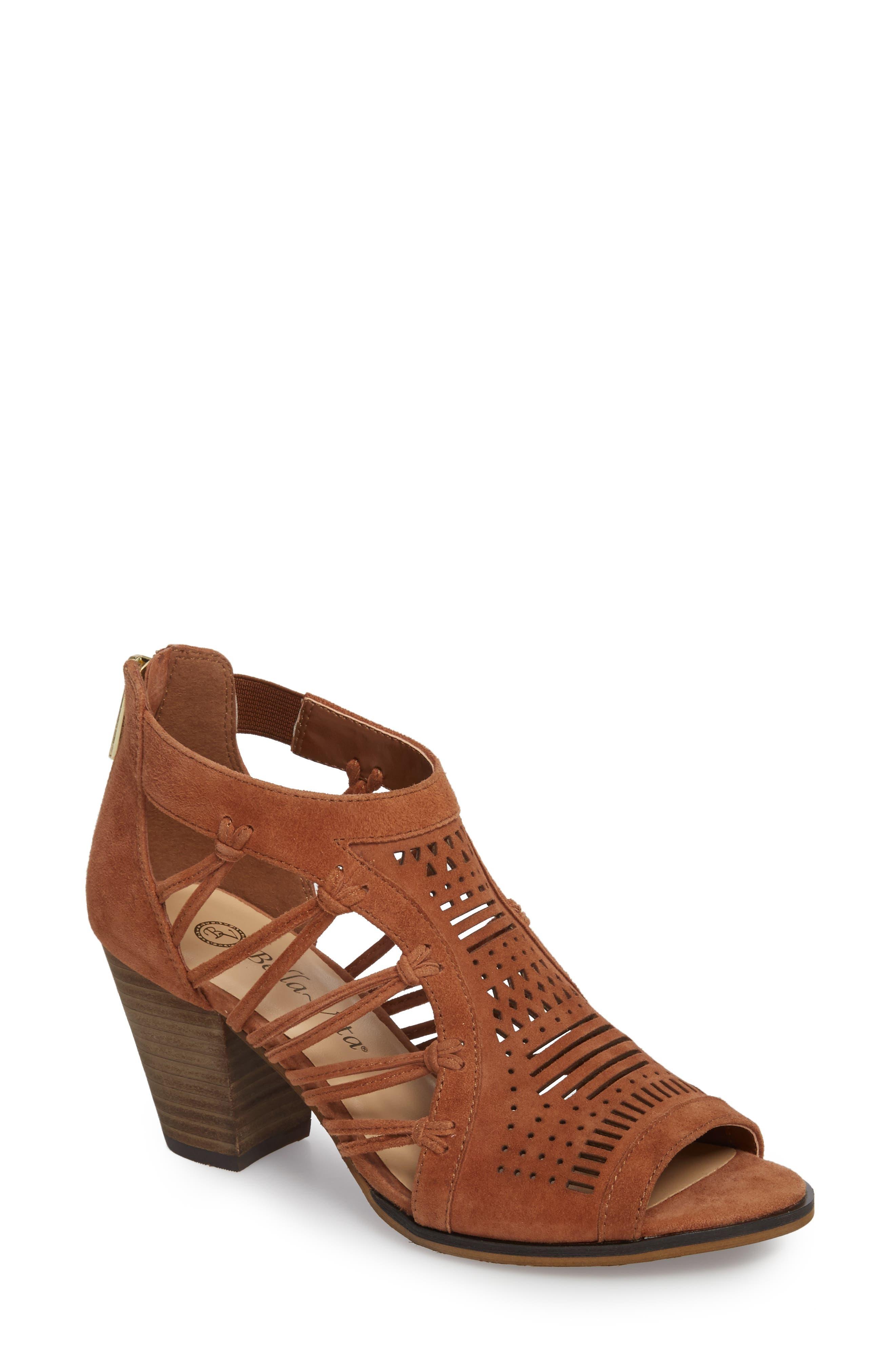 Kortez Block Heel Sandal,                             Main thumbnail 1, color,                             Dark Tan Suede