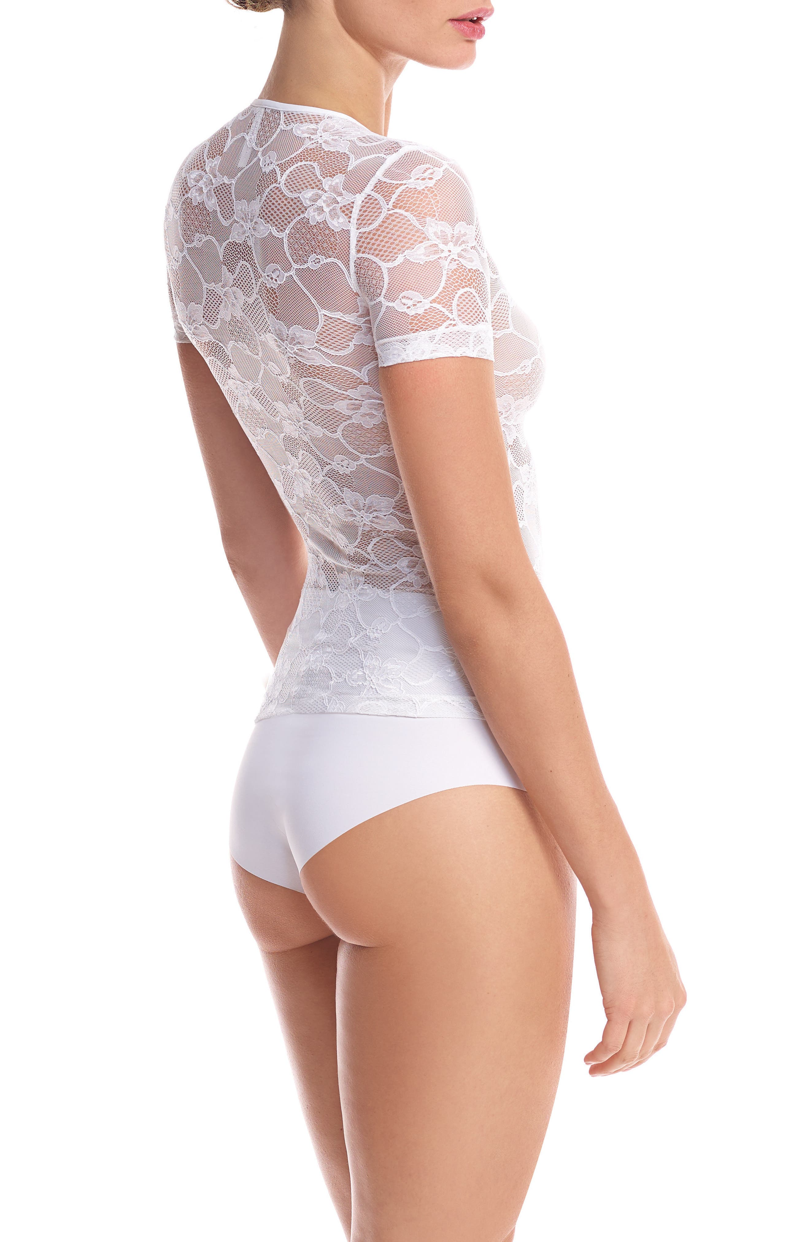 Floral Lace Tee,                             Alternate thumbnail 2, color,                             White