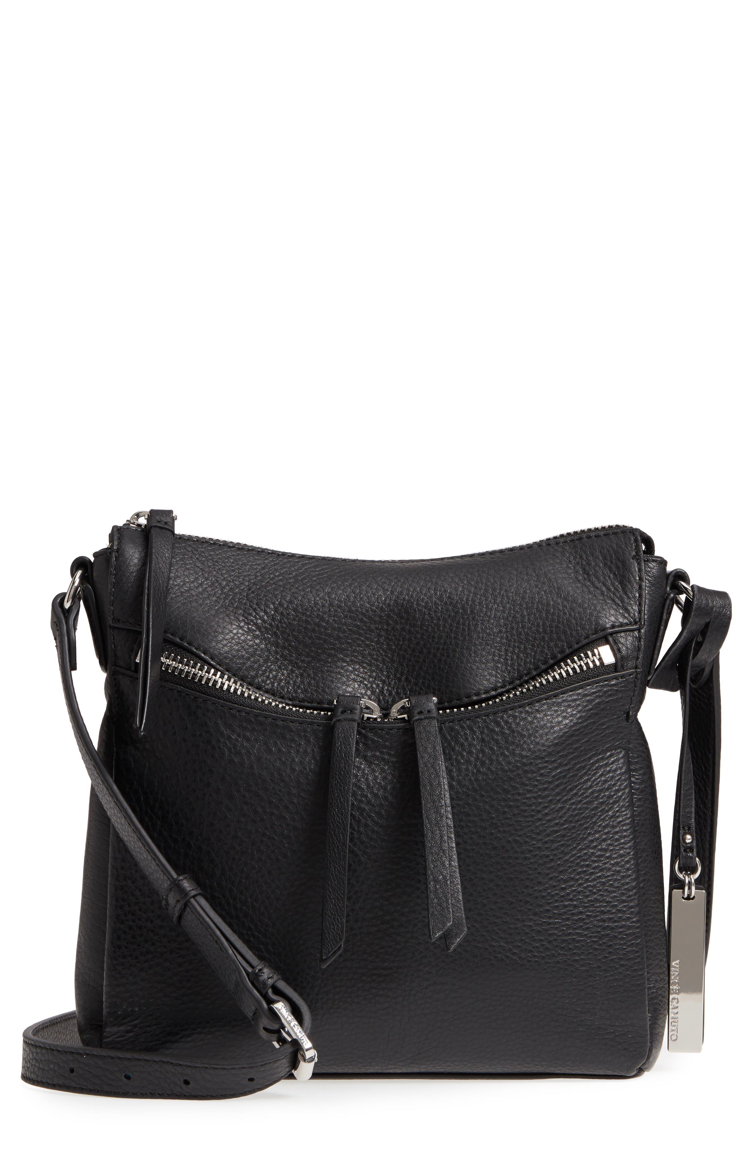 Staja Leather Crossbody Bag,                         Main,                         color, Nero