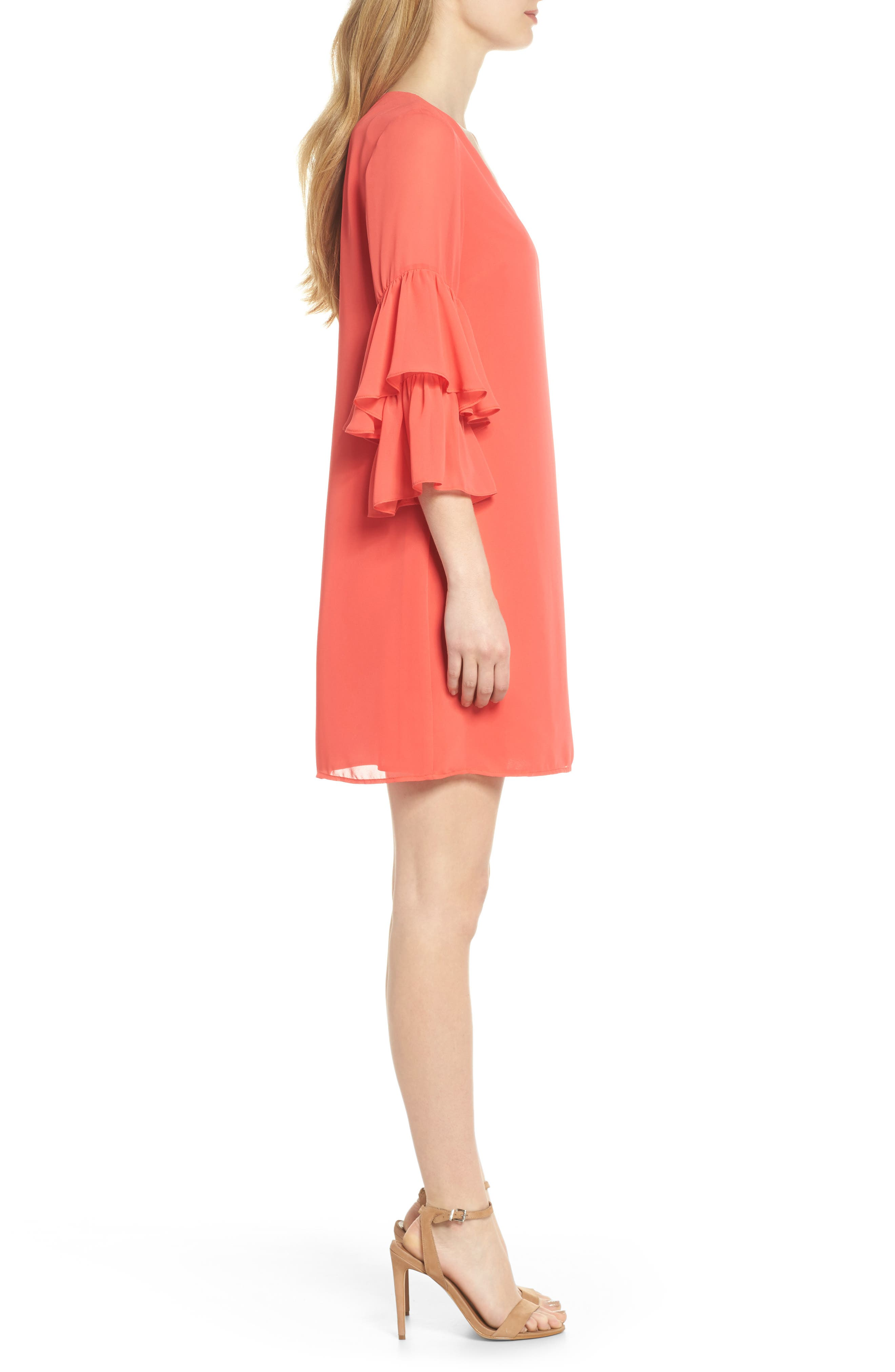 Carmen Tiered Ruffle Sleeve Shift Dress,                             Alternate thumbnail 3, color,                             Coral Crush