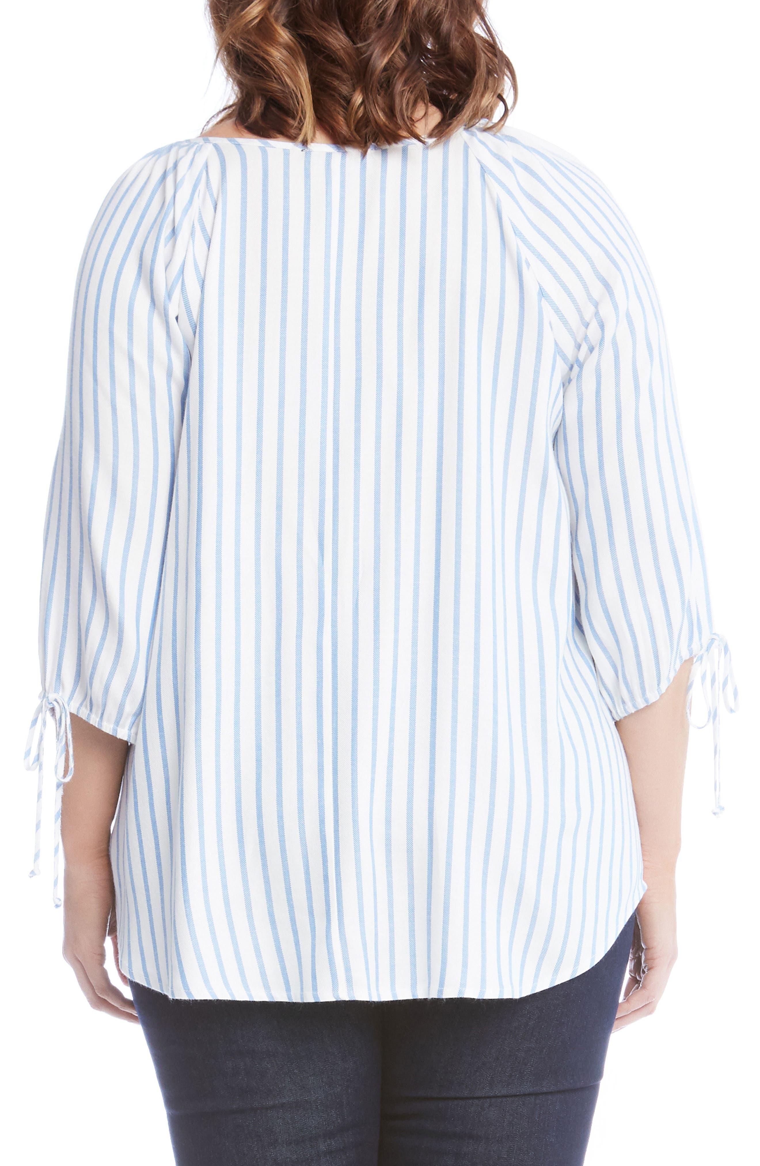 Tie Sleeve Peasant Top,                             Alternate thumbnail 2, color,                             Stripe