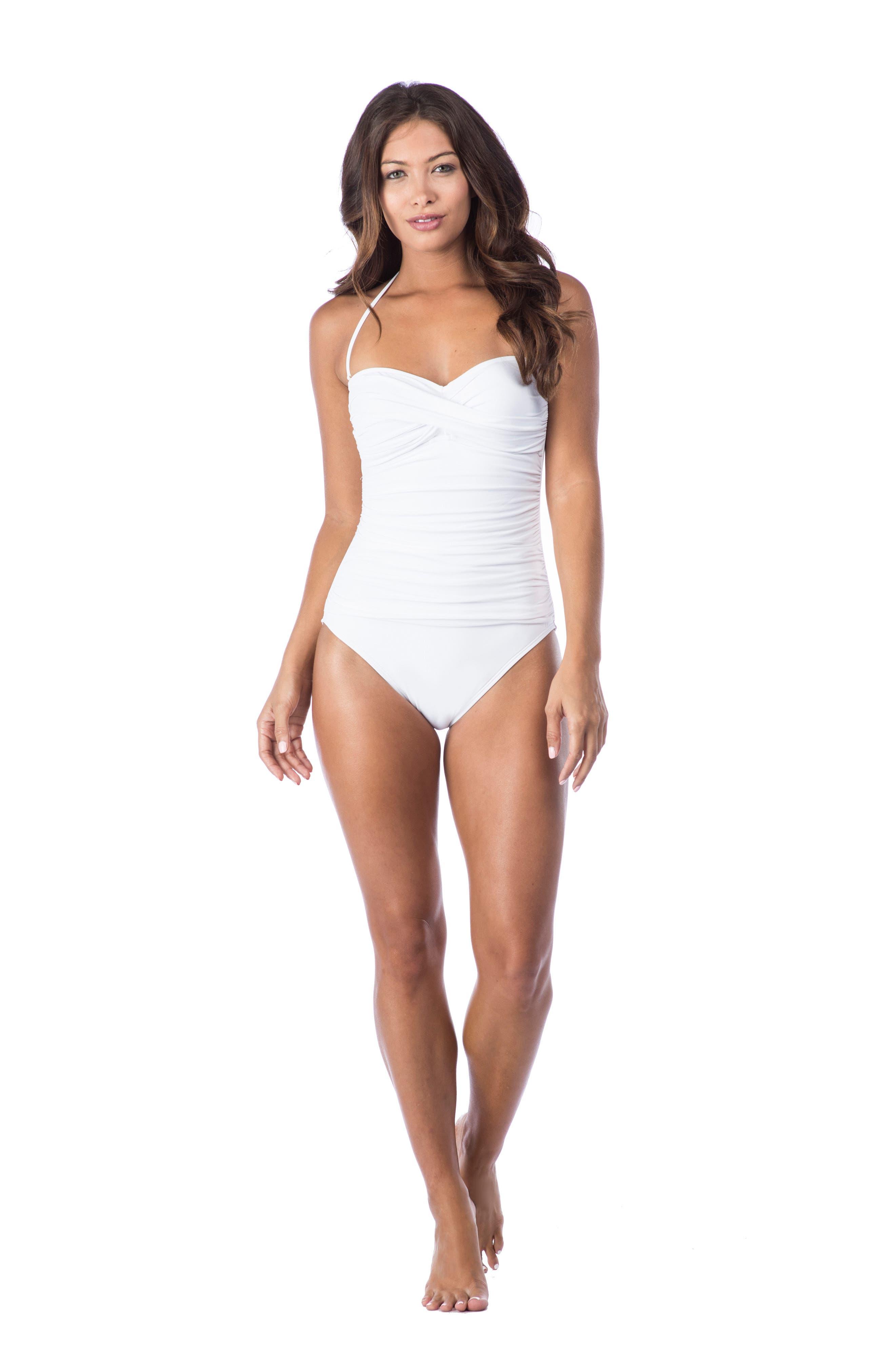 Twist Front Bandeau One-Piece Swimsuit,                             Alternate thumbnail 3, color,                             White