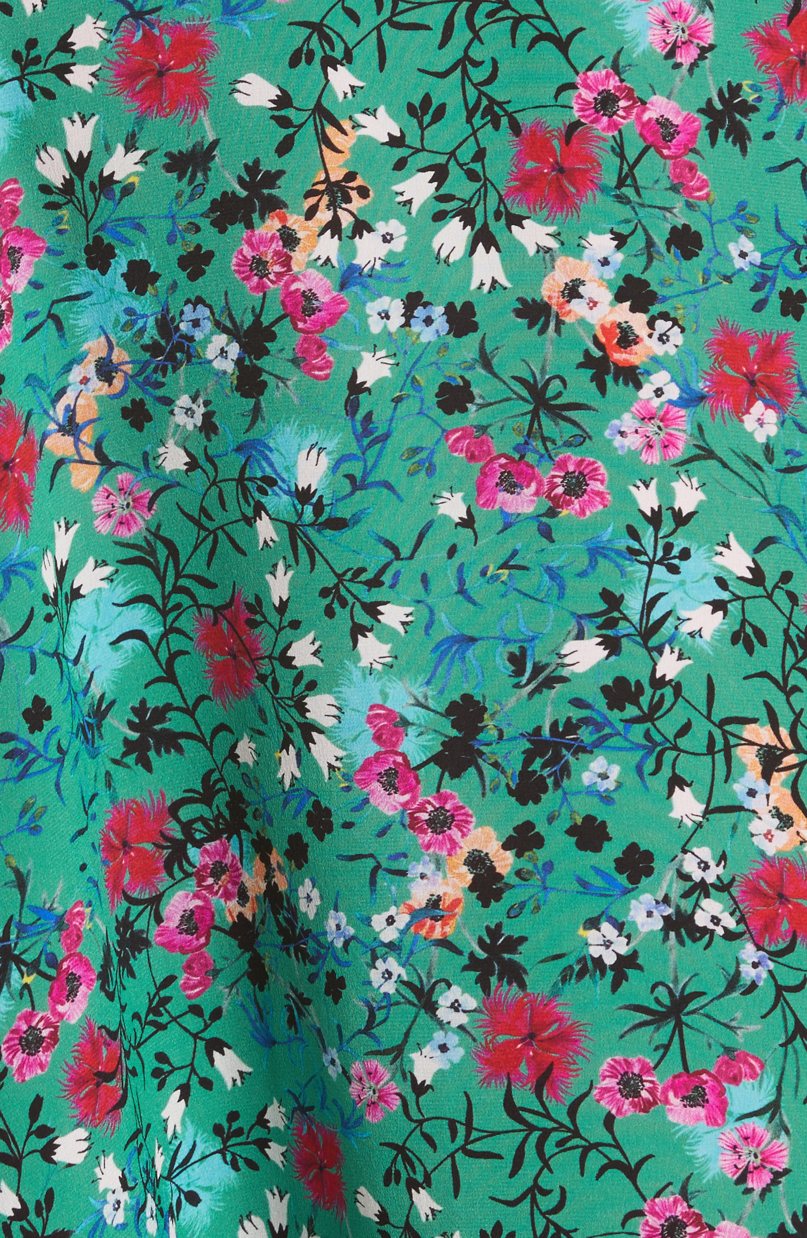 Aggie Floral Print Silk Dress,                             Alternate thumbnail 5, color,                             Pink Meadow