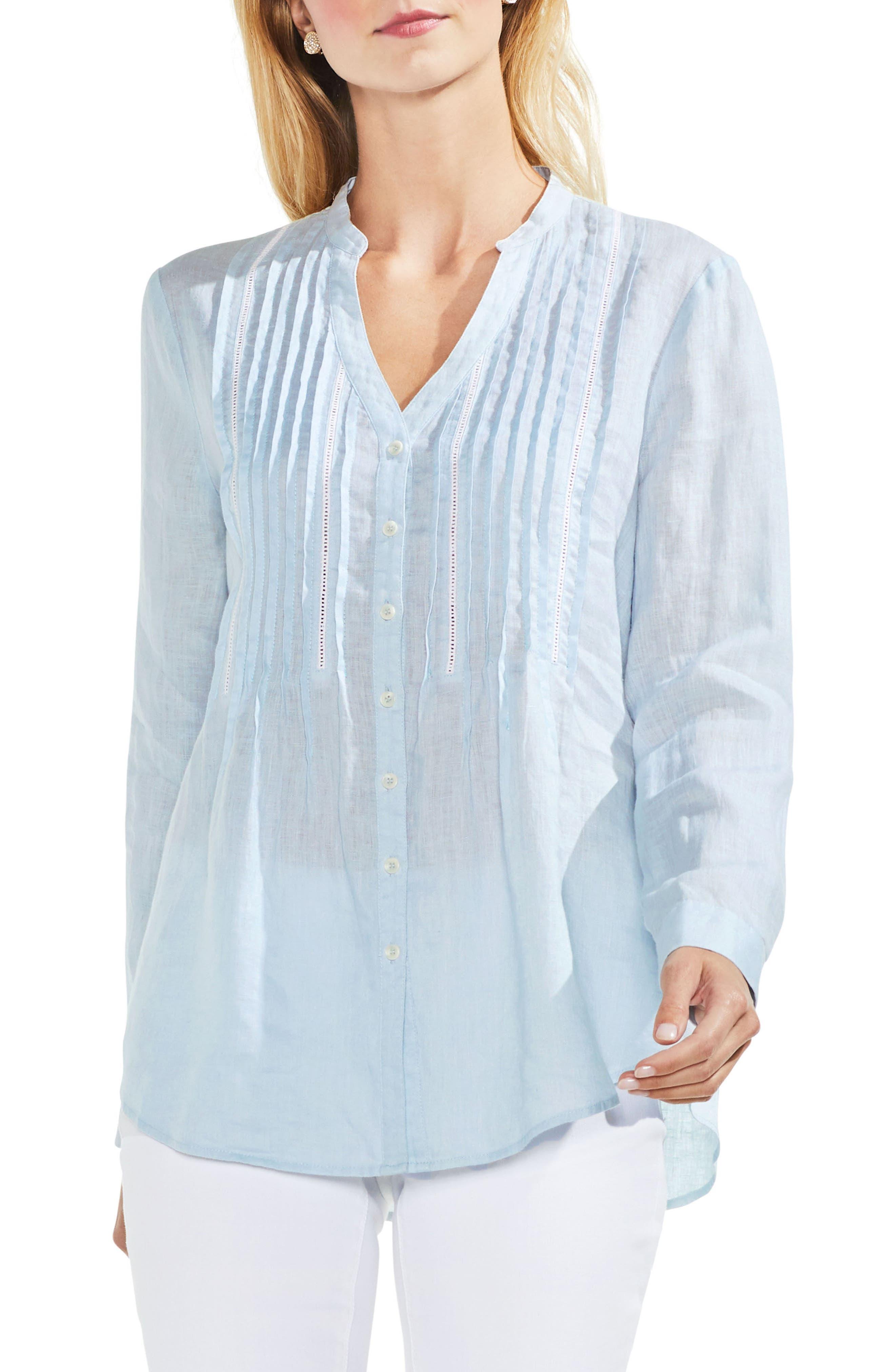 Pintuck Linen Shirt,                             Main thumbnail 1, color,                             Sea Salt