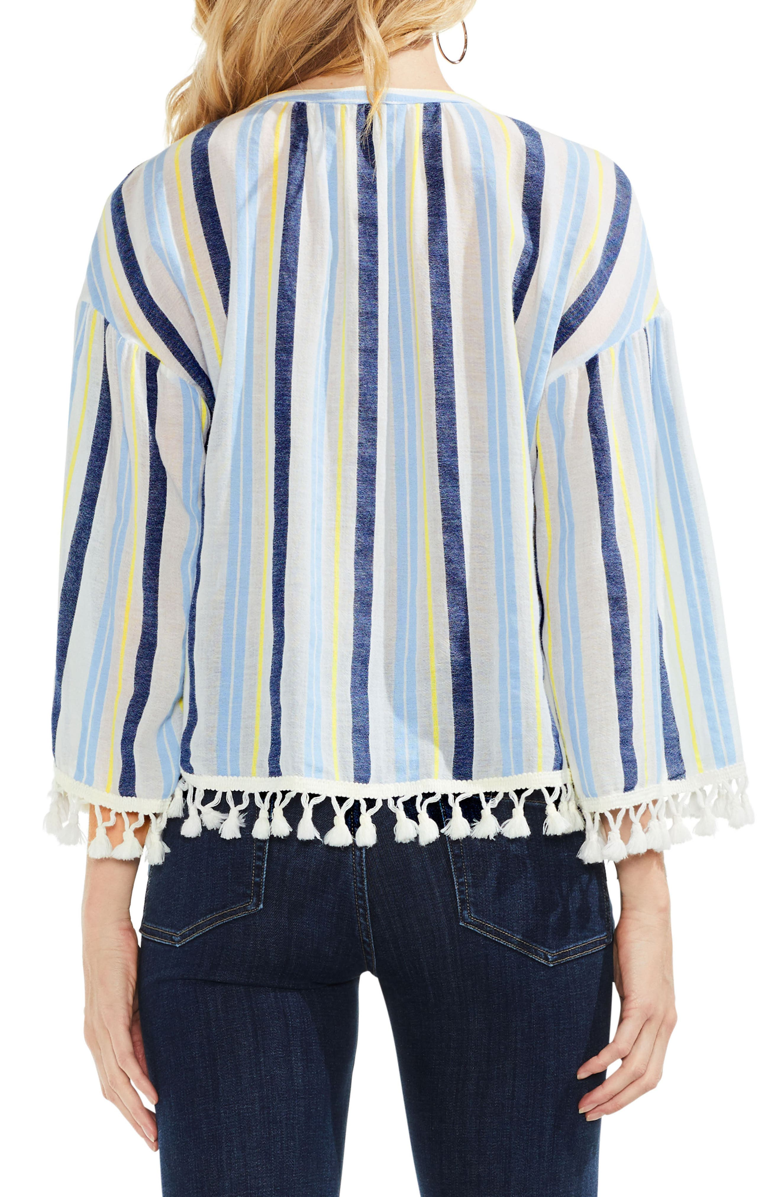 Sheer Stripe Pompom Trim Poncho,                             Alternate thumbnail 2, color,                             Lemon Cream