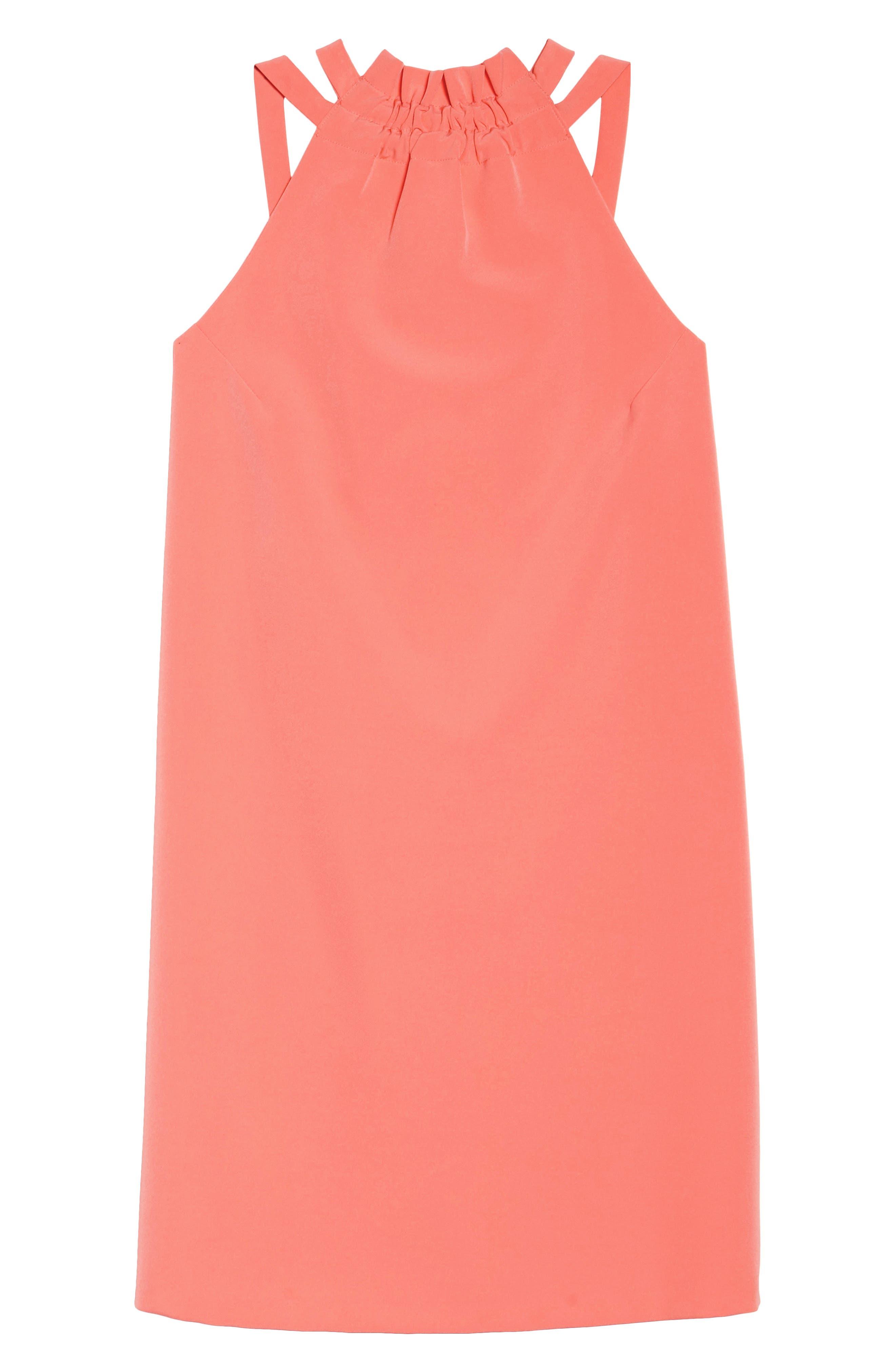 Halter Shift Dress,                             Alternate thumbnail 7, color,                             Sun Salmon