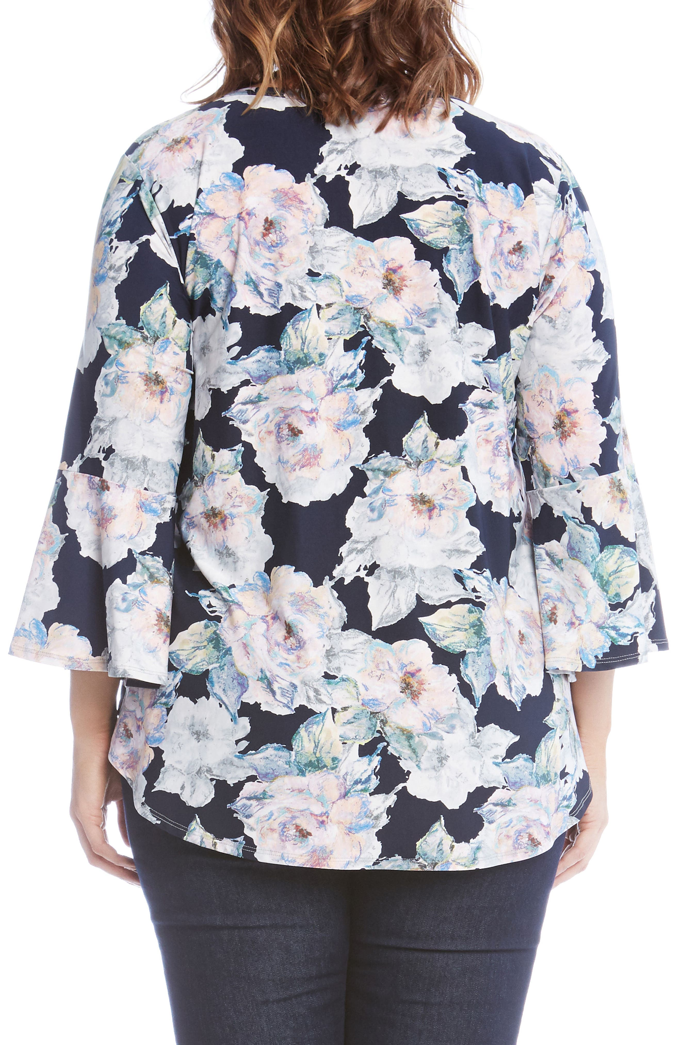 Floral Bell Sleeve Top,                             Alternate thumbnail 2, color,                             Flower