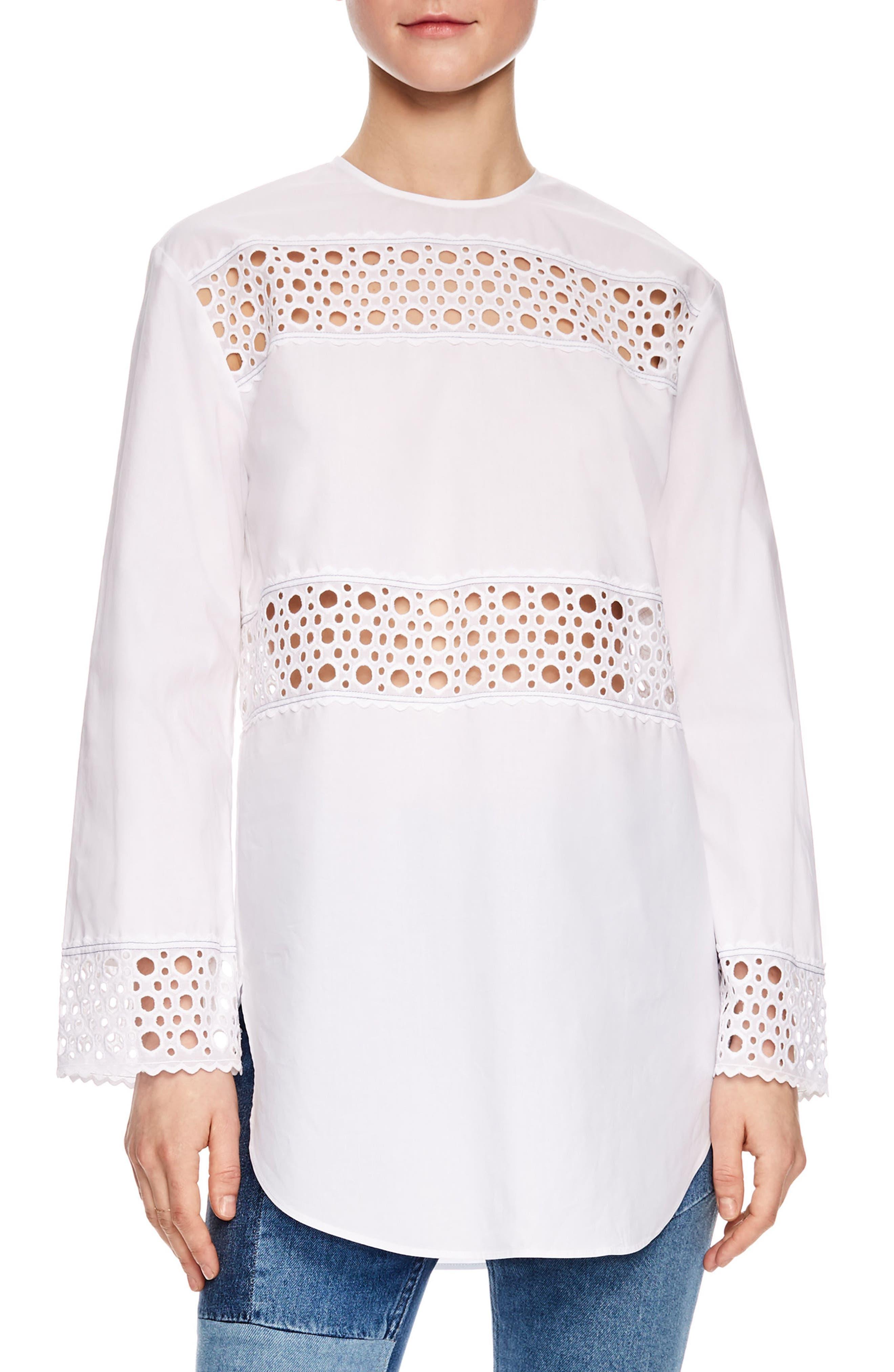 Lace Inset Tunic Top,                         Main,                         color, Ecru