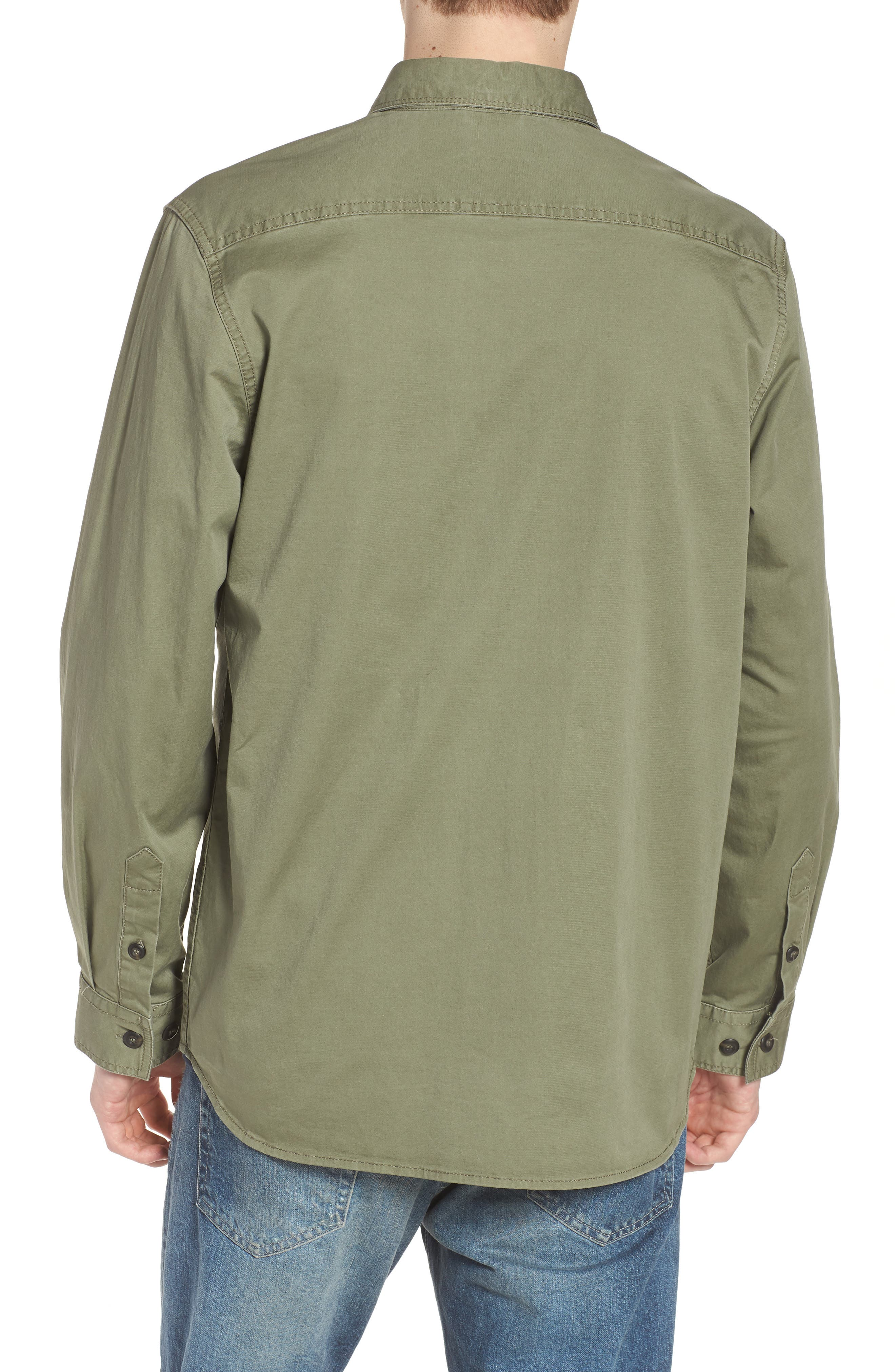 Twill Military Shirt Jacket,                             Alternate thumbnail 2, color,                             Deep Lichen Green