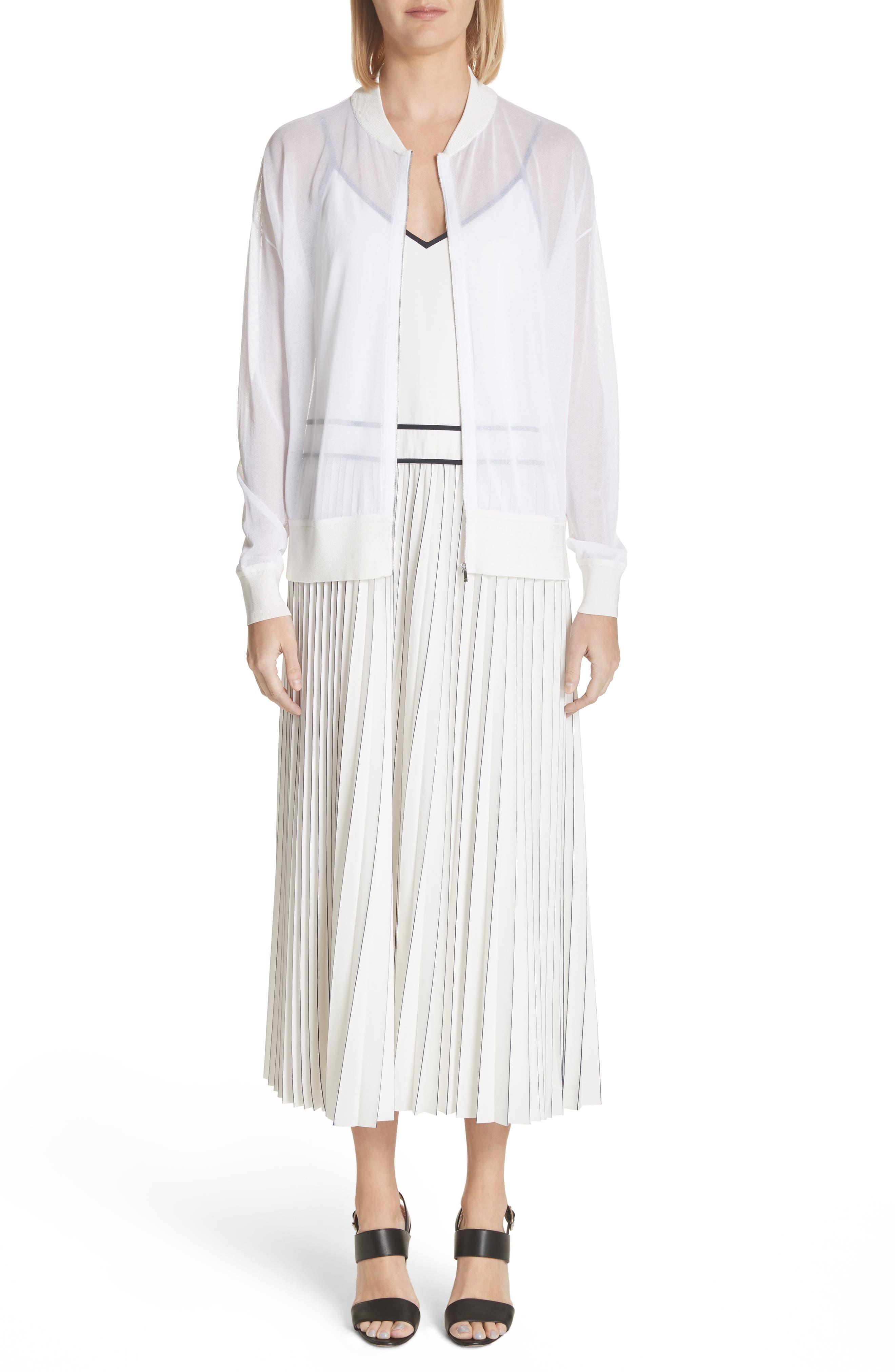 Silk Pleated Skirt Midi Dress,                             Alternate thumbnail 8, color,                             Cloud Multi