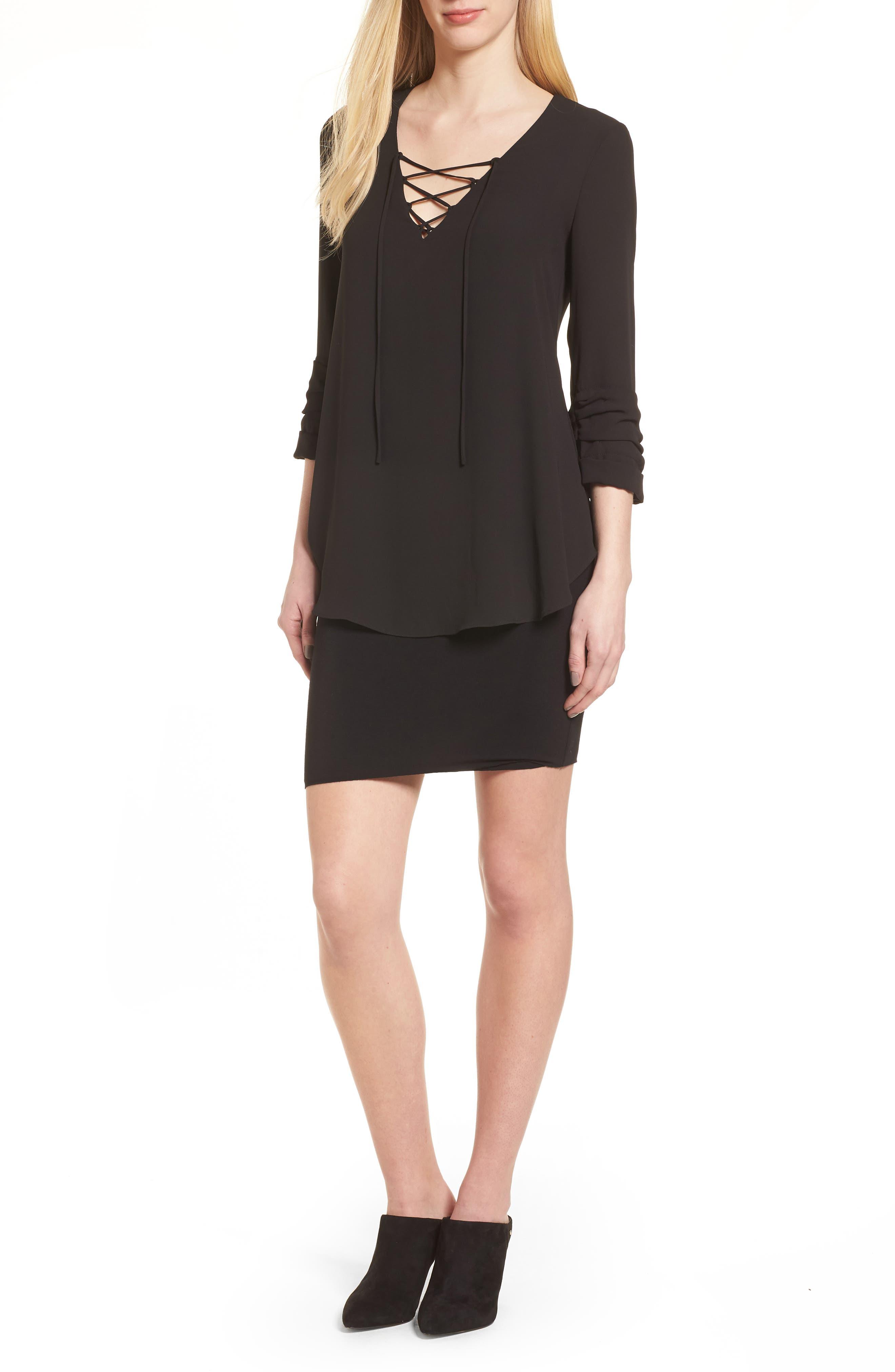 Bento Faux Layered Dress,                             Main thumbnail 1, color,                             Black