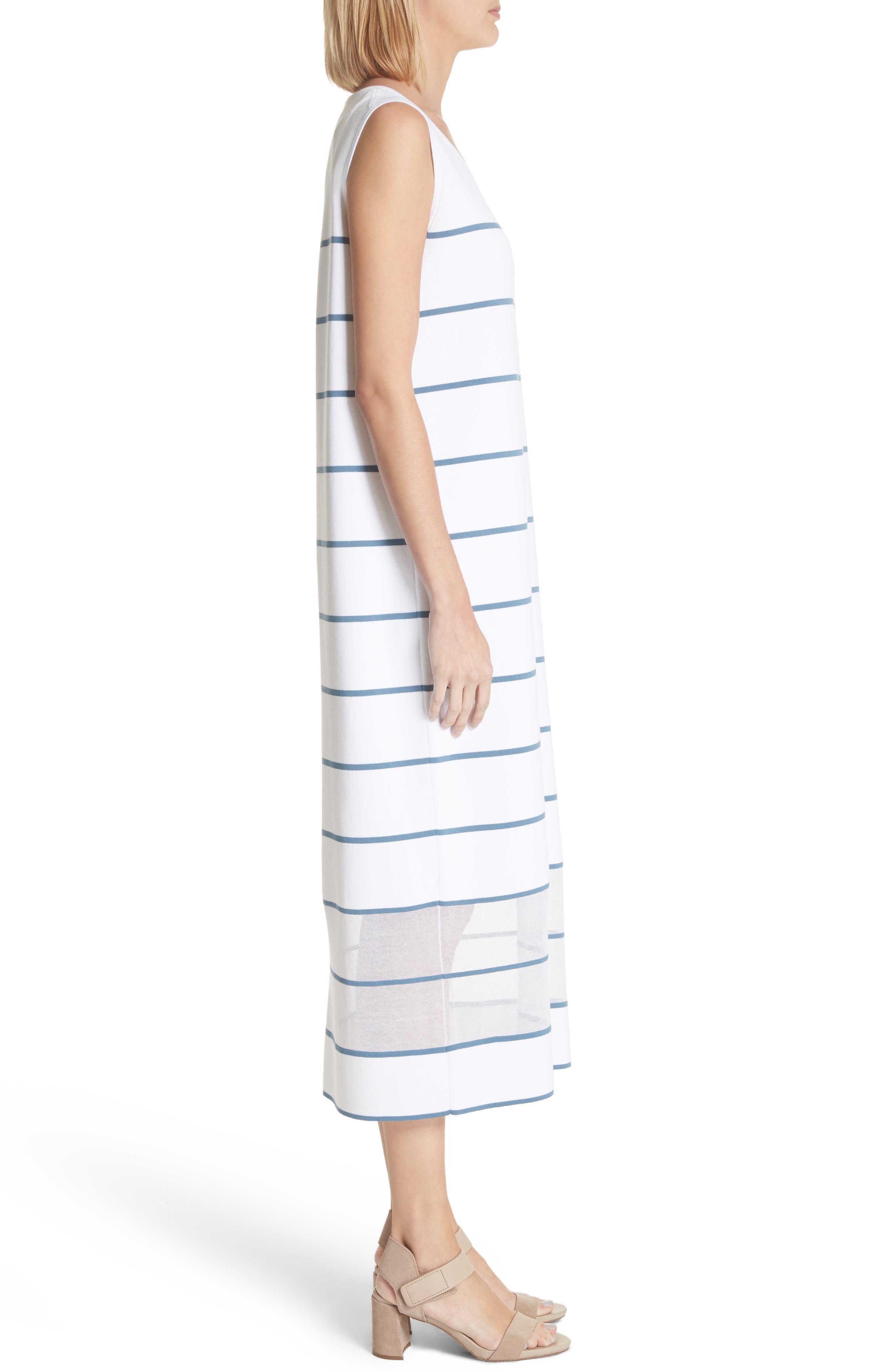 Stripe Sheer Hem Tank Dress,                             Alternate thumbnail 3, color,                             Placid Blue Multi