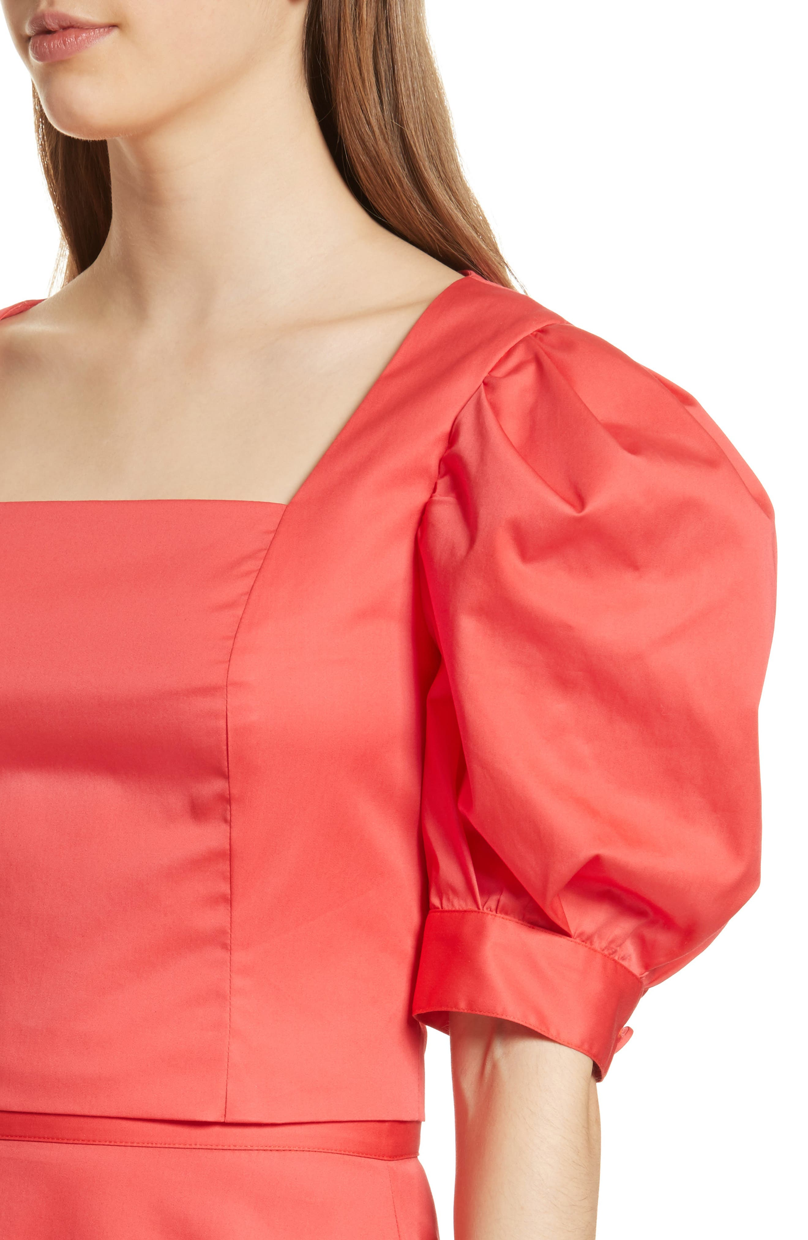 Prose & Poetry Claudia Puff Sleeve Top,                             Alternate thumbnail 4, color,                             Watermelon