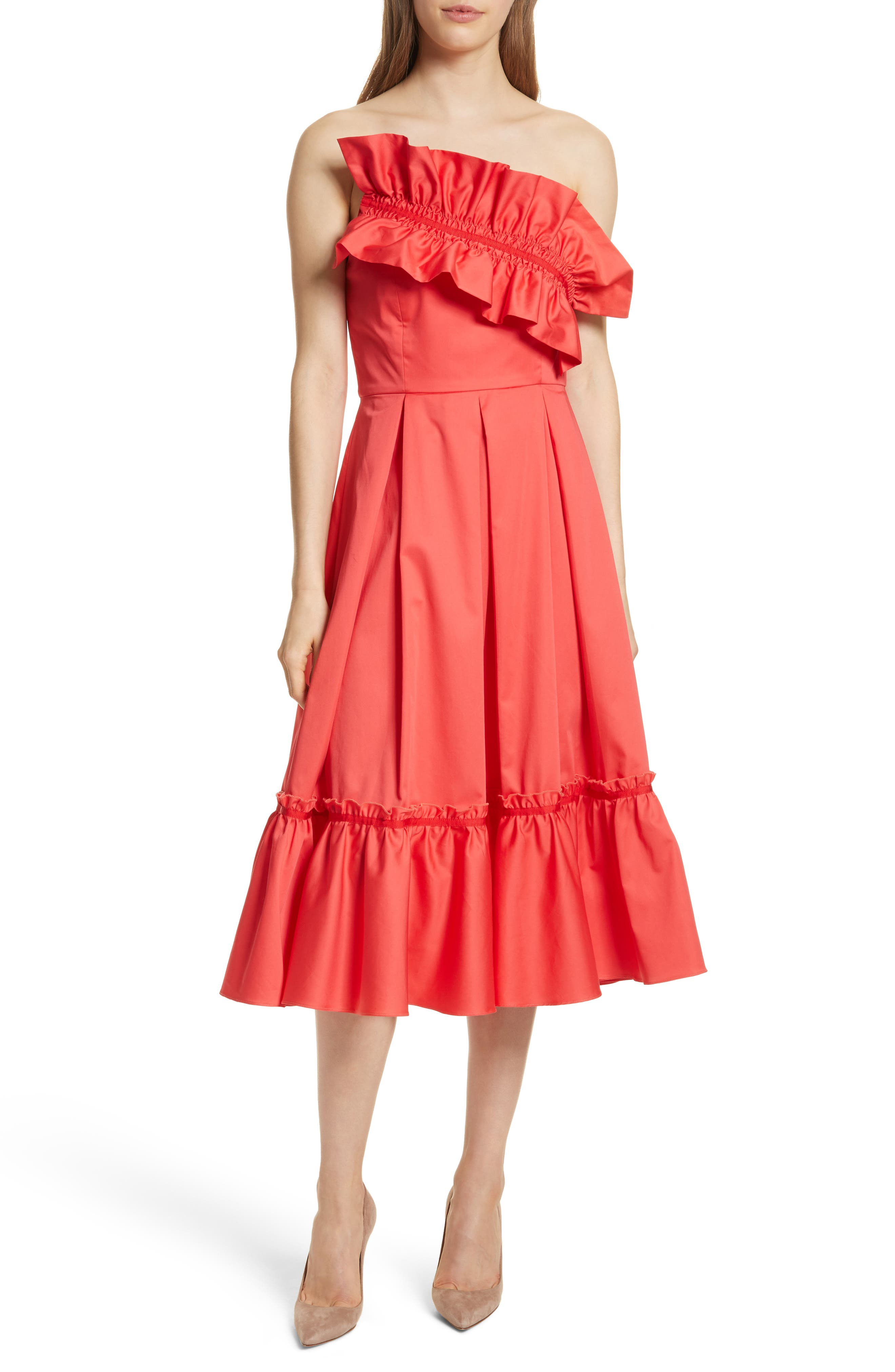 Prose & Poetry Harlow Ruffle Trim Strapless Dress,                         Main,                         color, Watermelon
