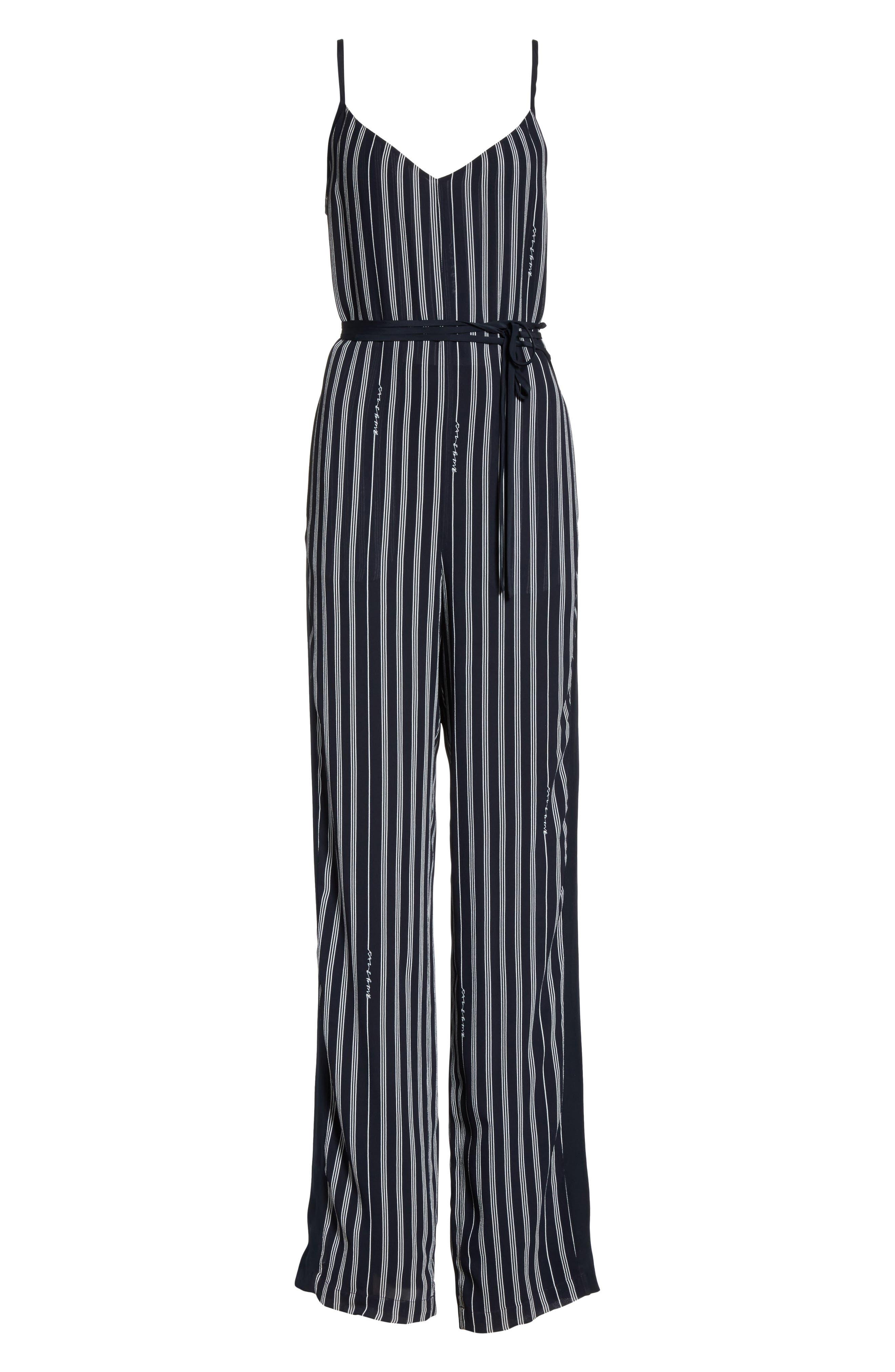 Rosa Silk Panel Belted Jumpsuit,                             Alternate thumbnail 6, color,                             Navy Stripe