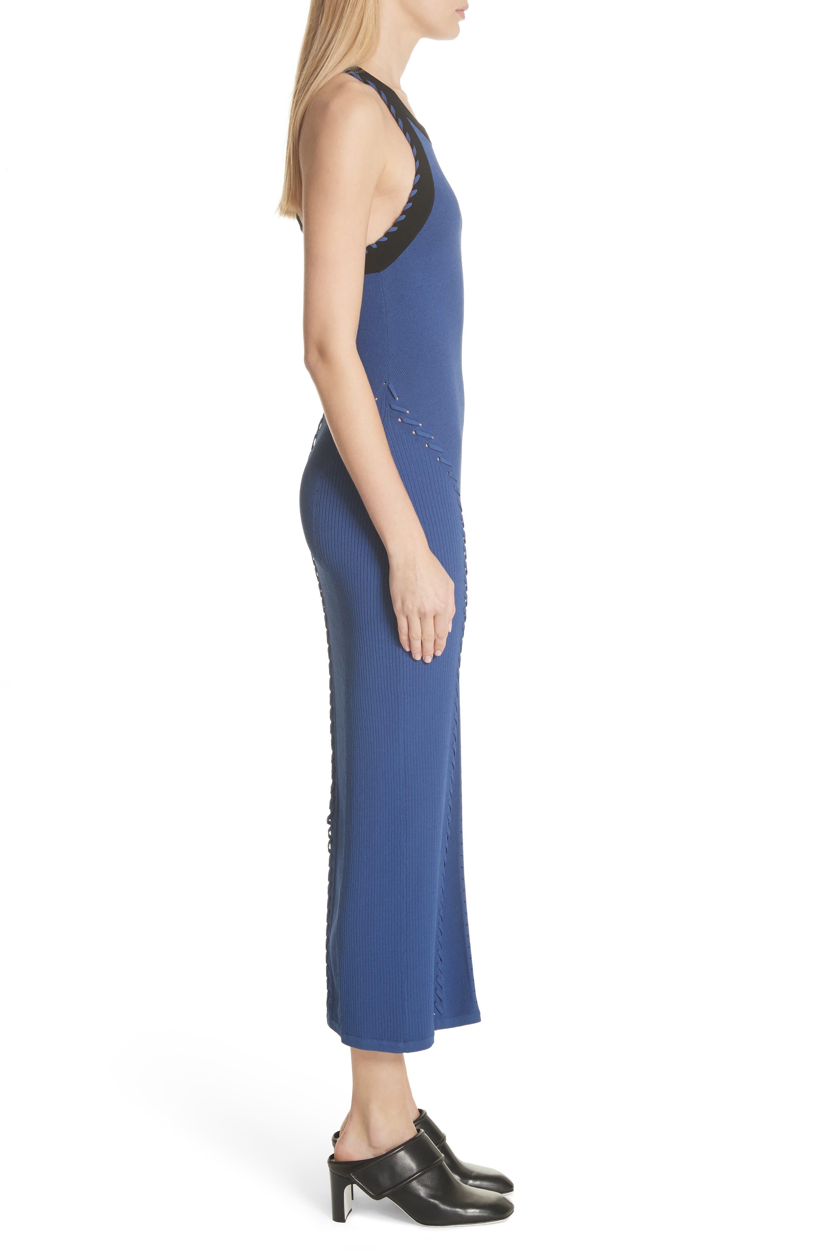 Brandy Whipstitch Detail Midi Dress,                             Alternate thumbnail 3, color,                             Blue