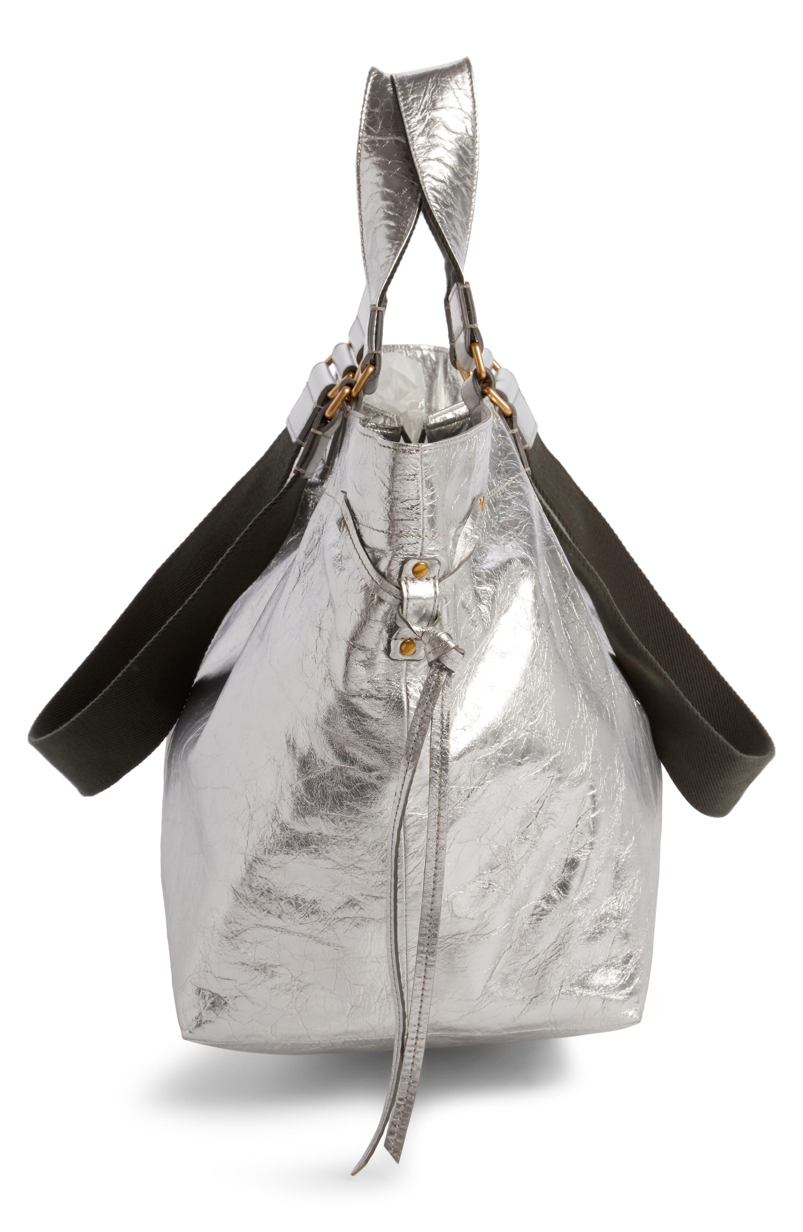 Wardy Metallic Leather Shopper,                             Alternate thumbnail 3, color,                             Silver