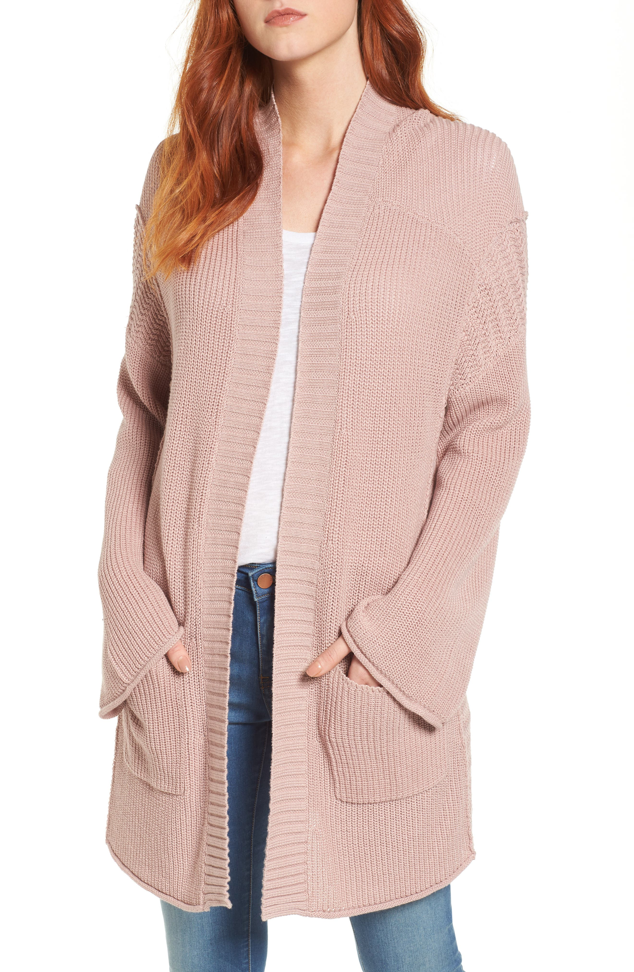 Open Cotton Cardigan,                         Main,                         color, Pink Adobe