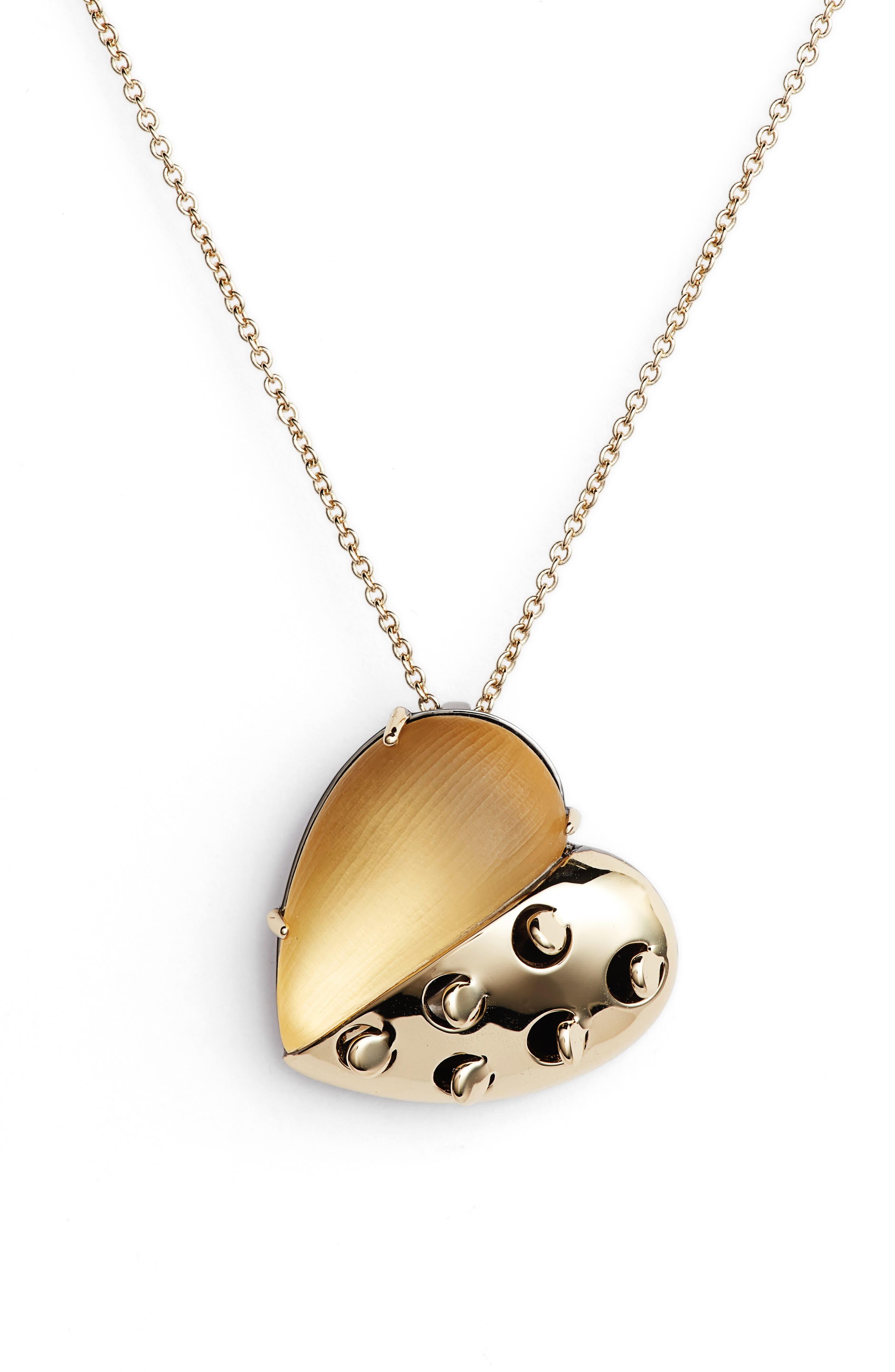 Small Lucite<sup>®</sup> Grater Heart Pendant Necklace,                             Main thumbnail 1, color,                             Gold