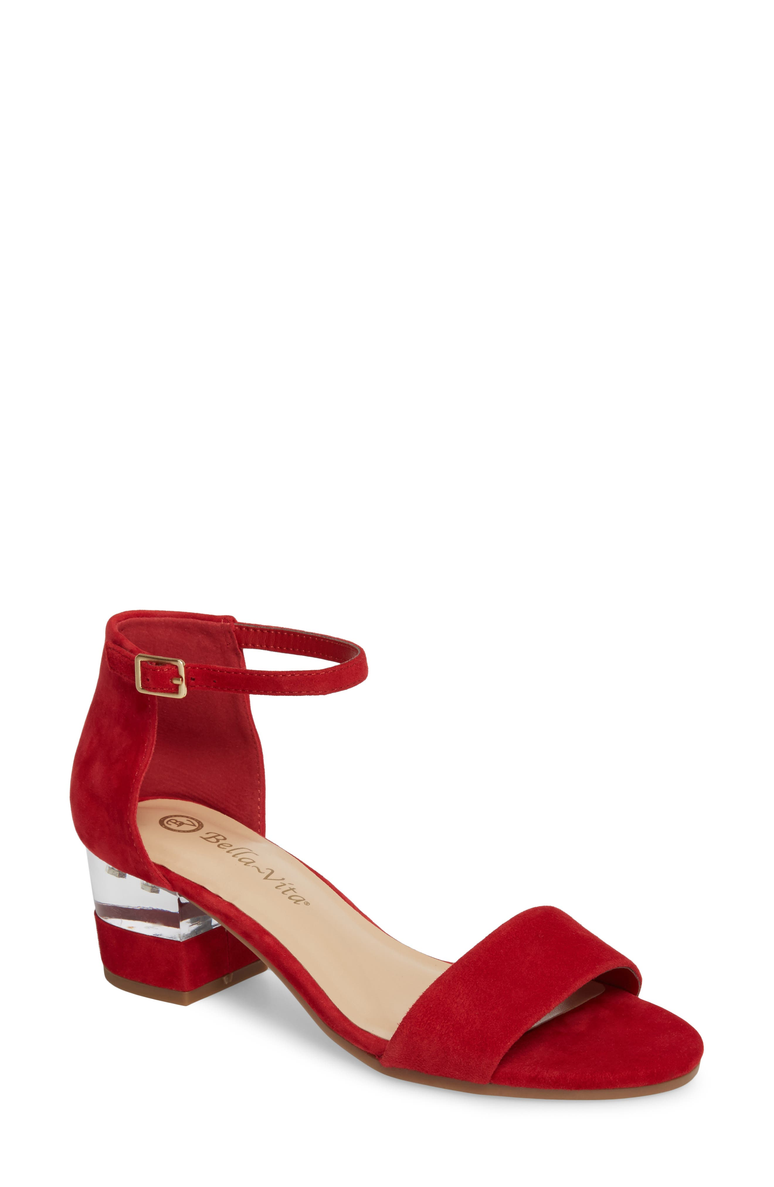 Fitz Block Heel Sandal,                             Main thumbnail 1, color,                             Red Suede