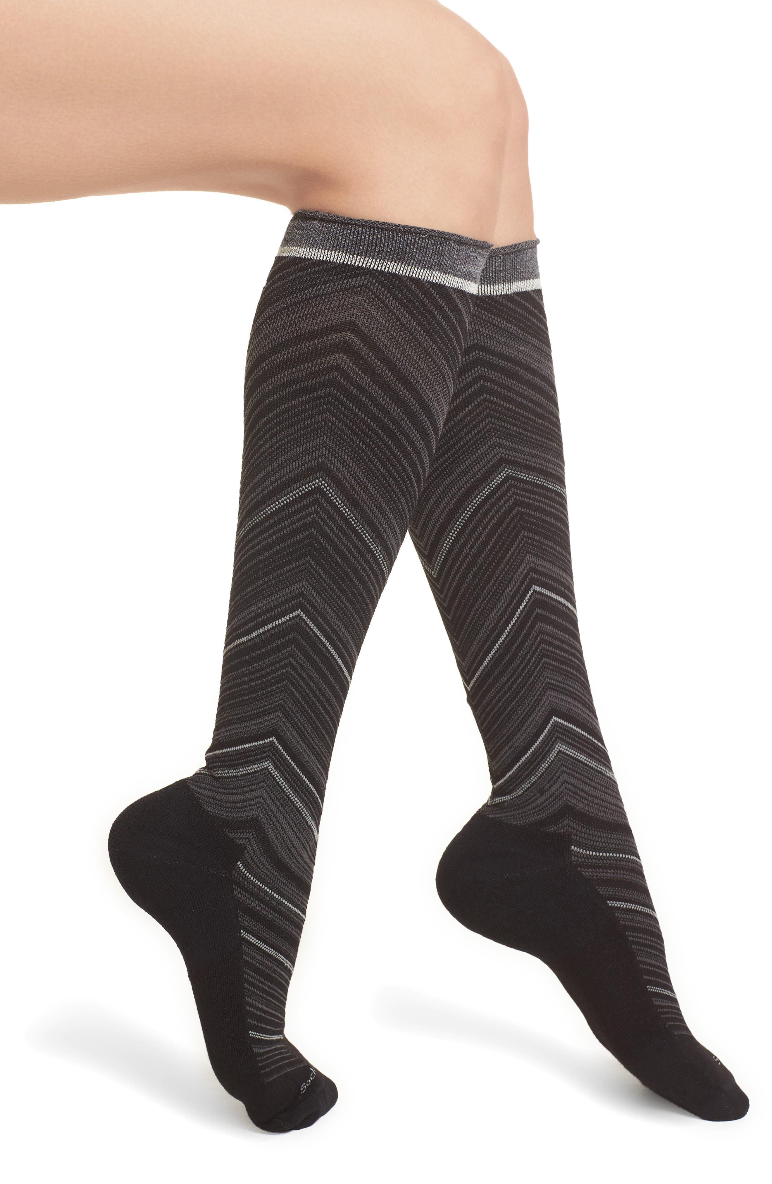 Full Calf Flattery Compression Socks,                             Main thumbnail 1, color,                             Black