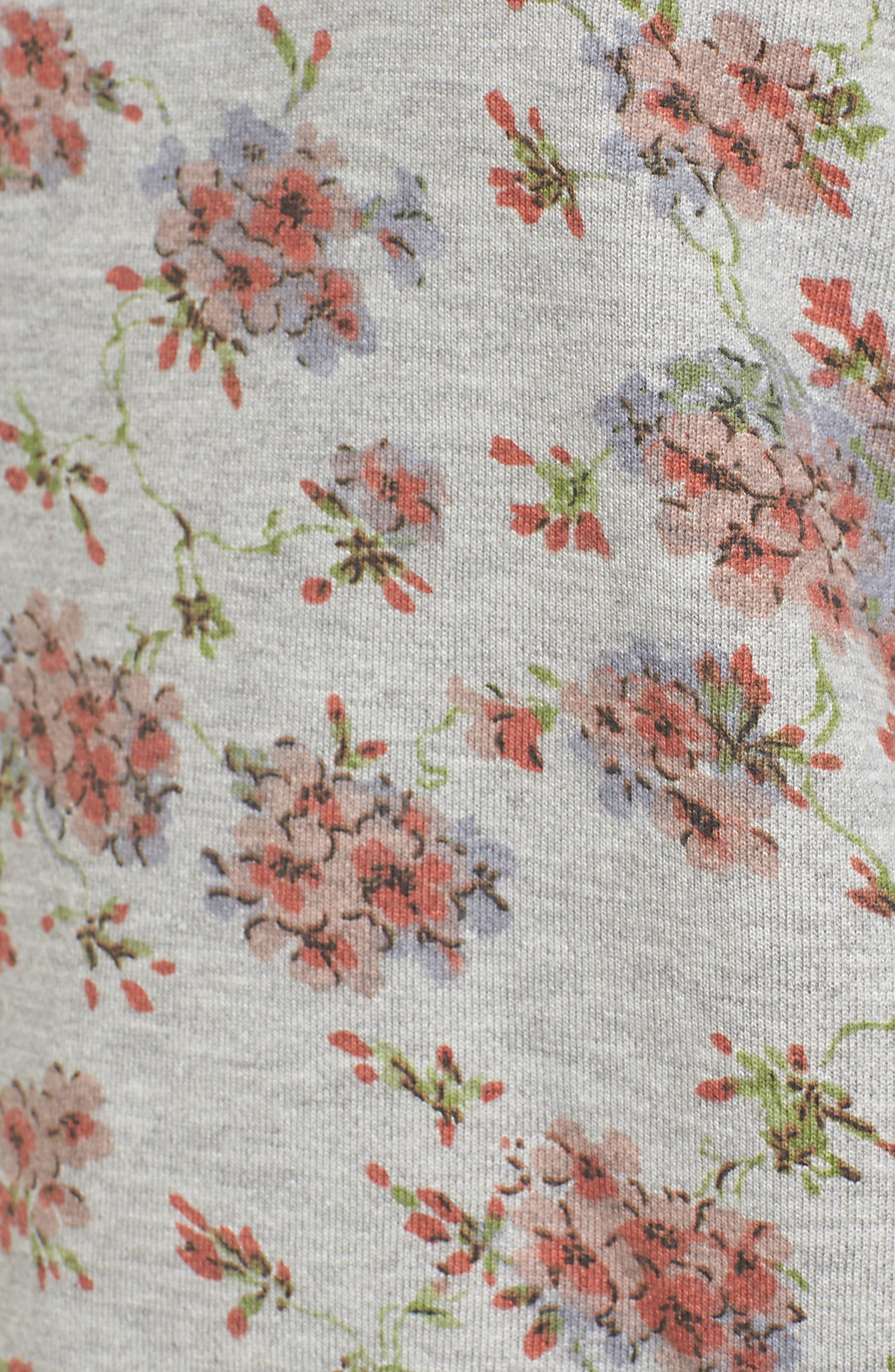 Poplin Cuff Sweatshirt,                             Alternate thumbnail 6, color,                             Grey Blush Floral W/ White