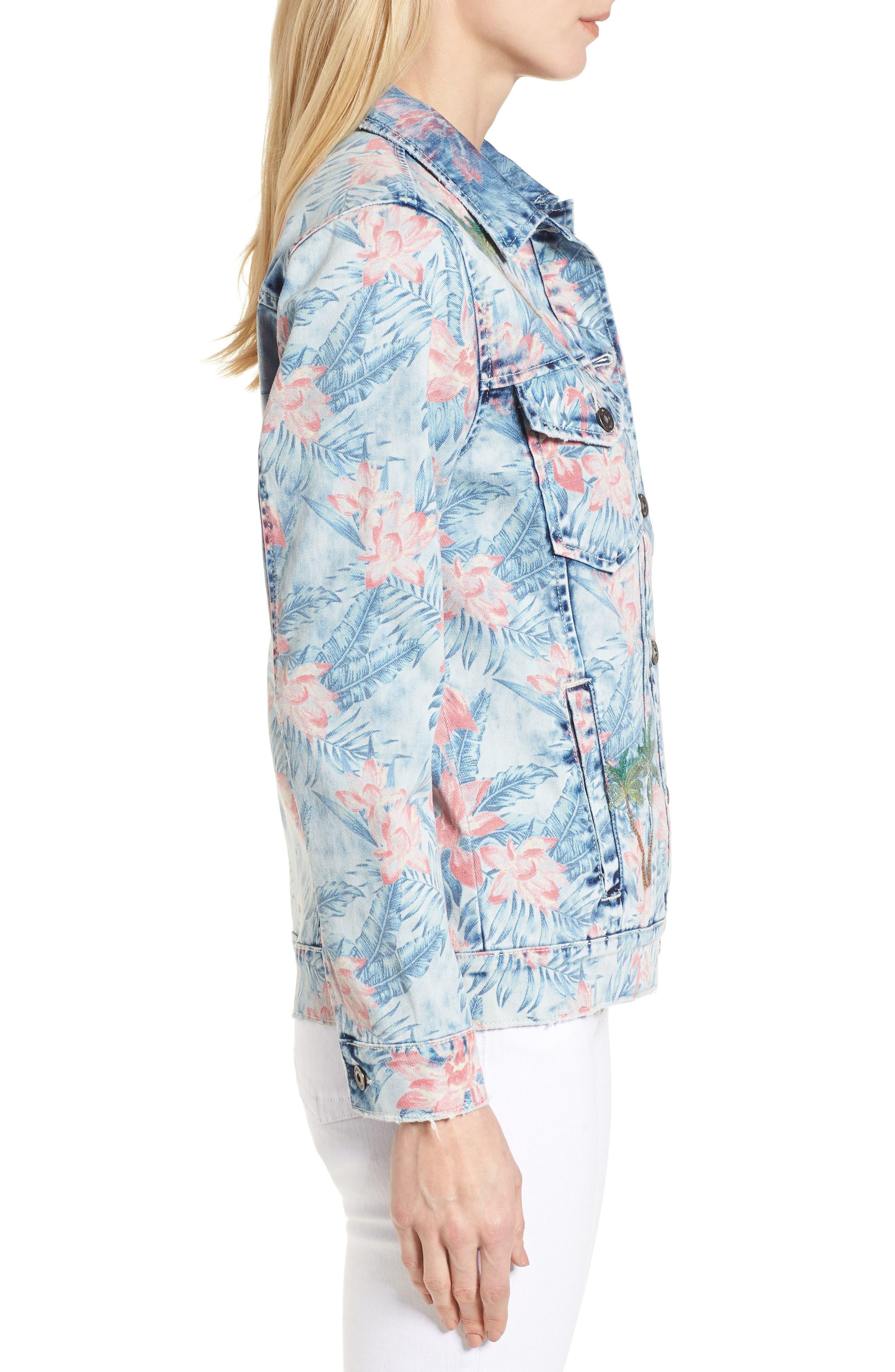Embroidered Floral Denim Jacket,                             Alternate thumbnail 3, color,                             Light Blue Paradise