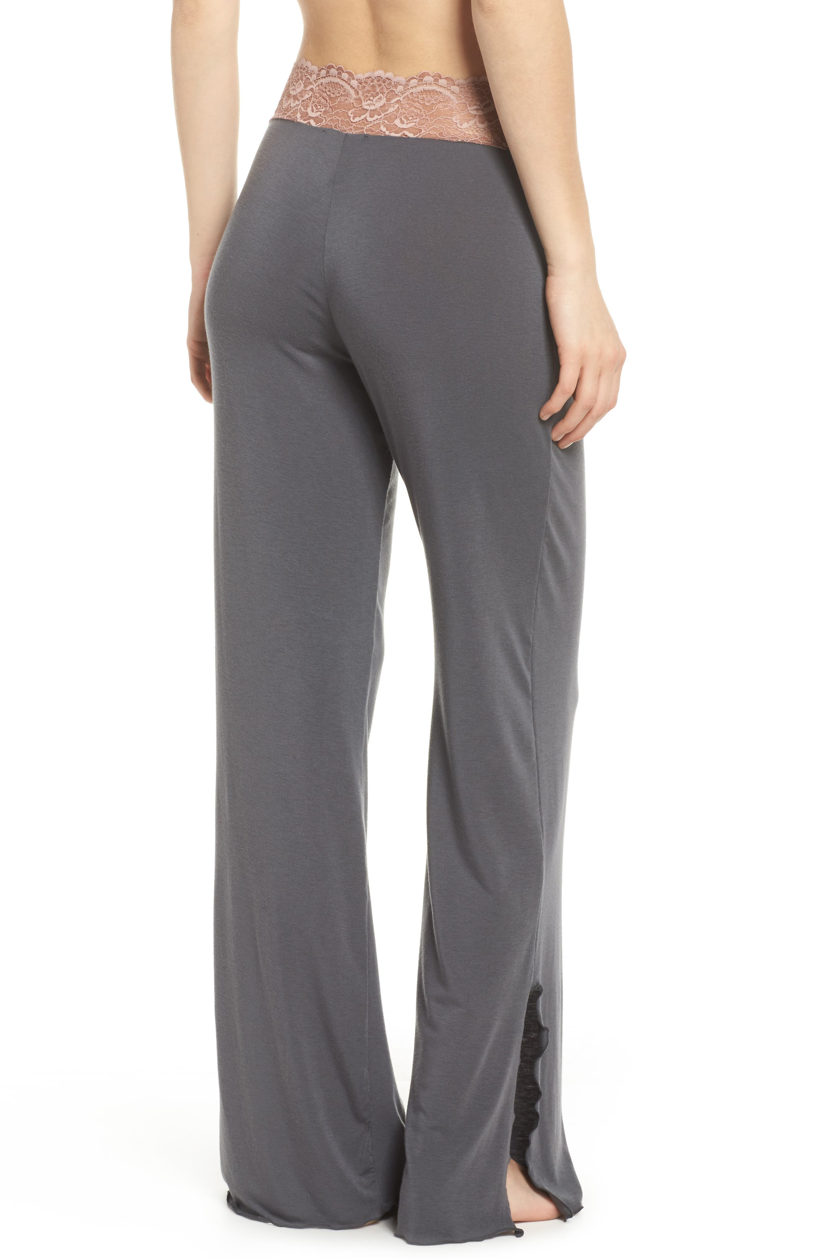 Lace Trim Pants,                             Alternate thumbnail 2, color,                             Slate With Java Lace