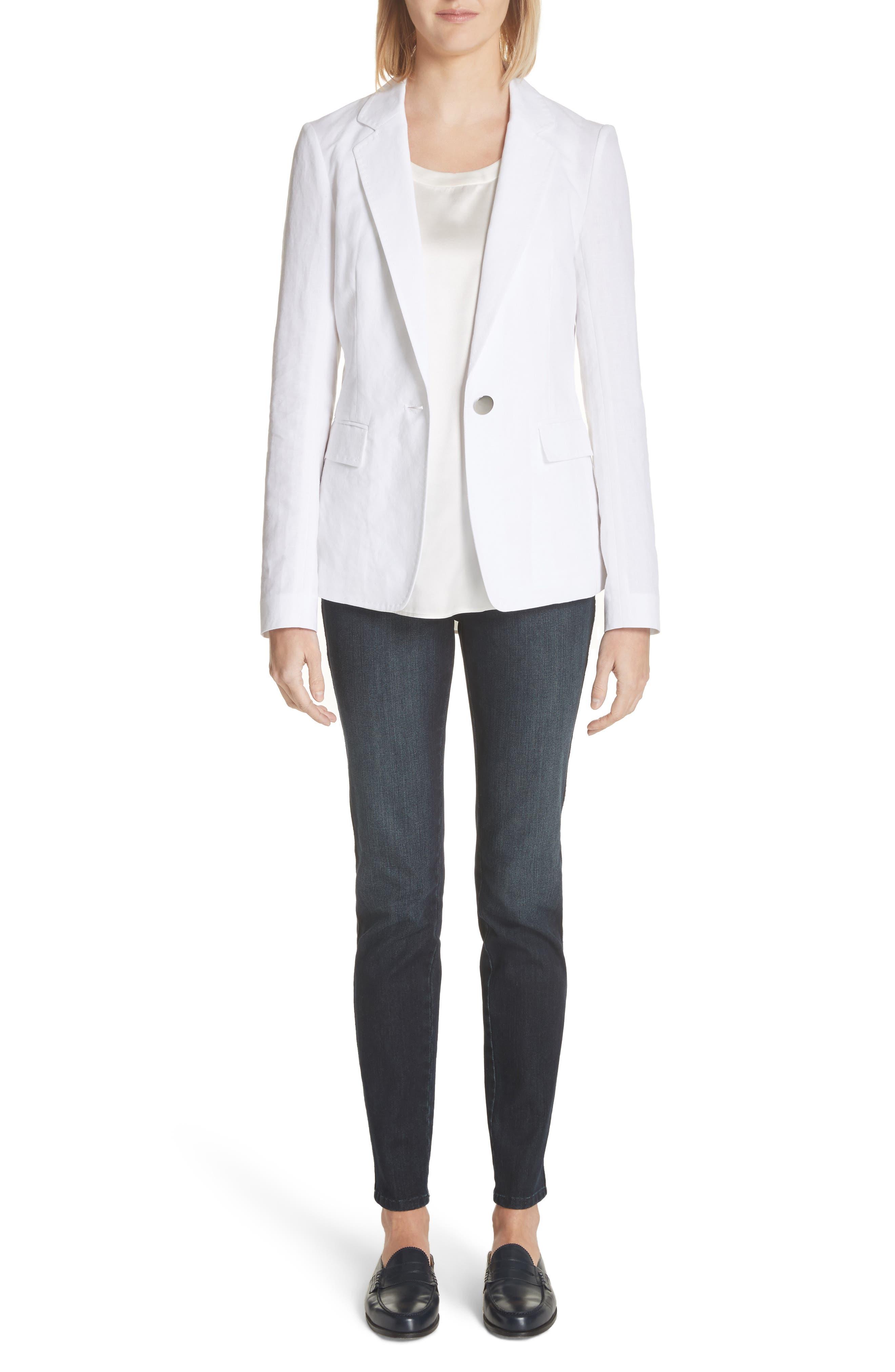 Lyndon Courtly Cotton & Linen Jacket,                             Alternate thumbnail 7, color,                             White