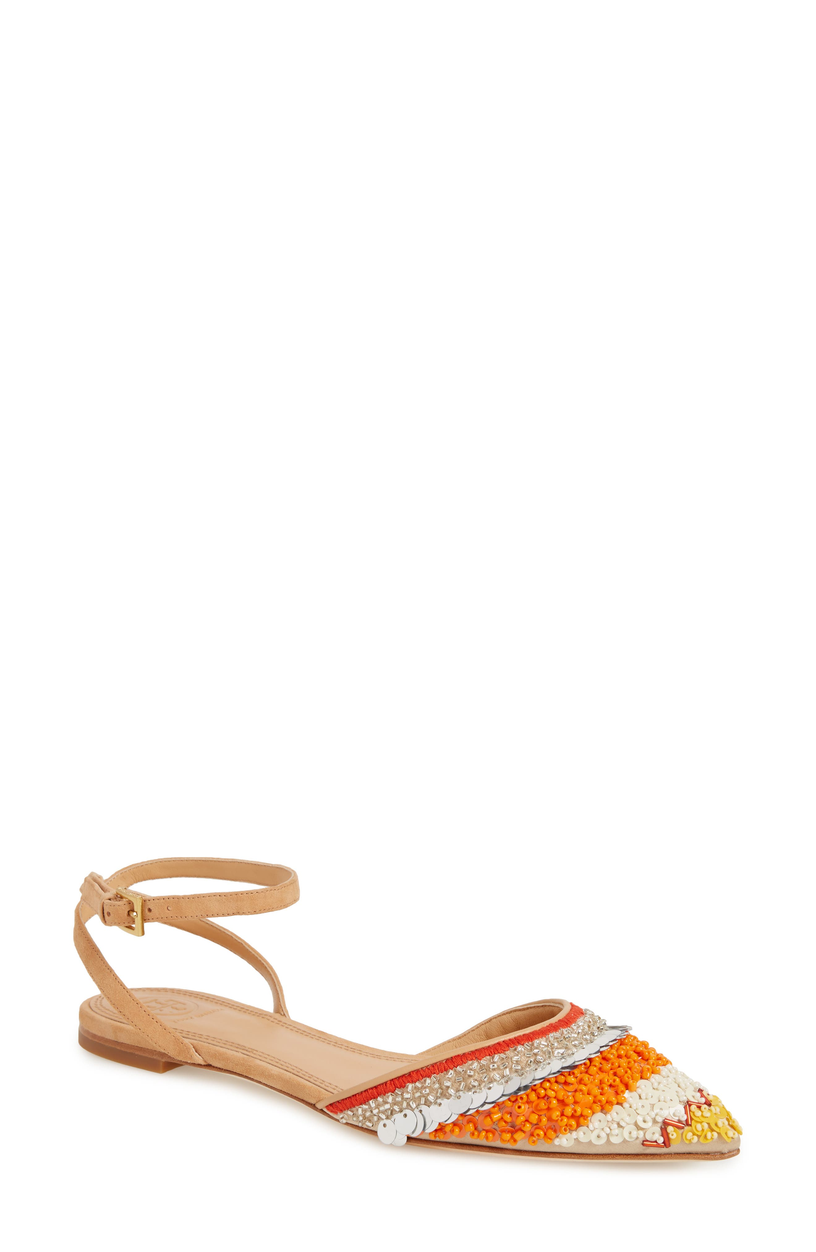 Isle Embellished Ankle Strap Flat,                         Main,                         color, Multi Color/ Natural