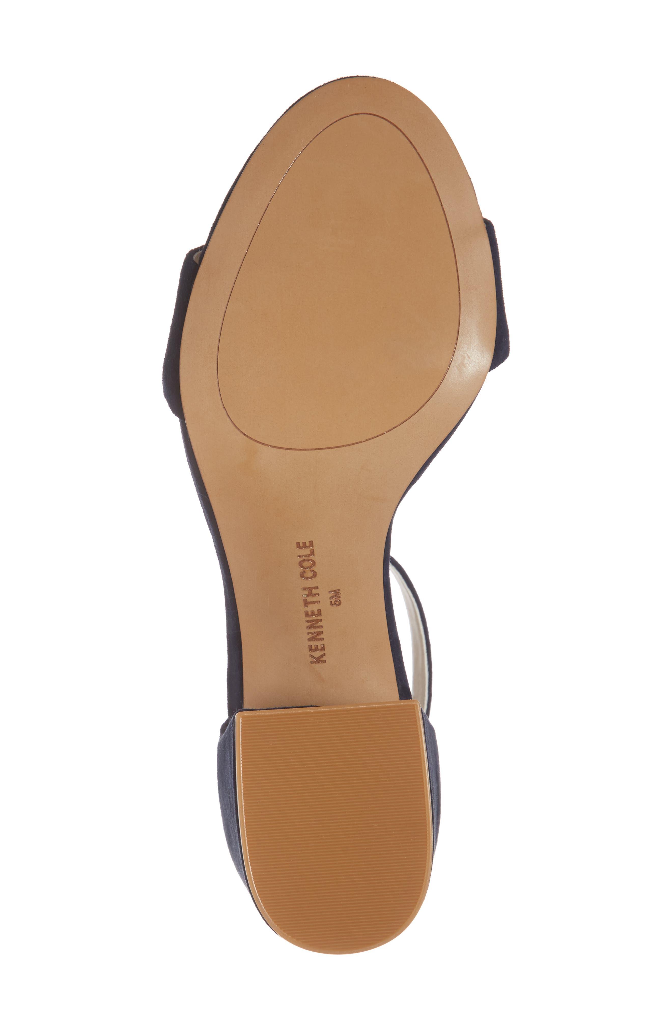 Hannon Block Heel Ankle Strap Sandal,                             Alternate thumbnail 6, color,                             Navy Suede