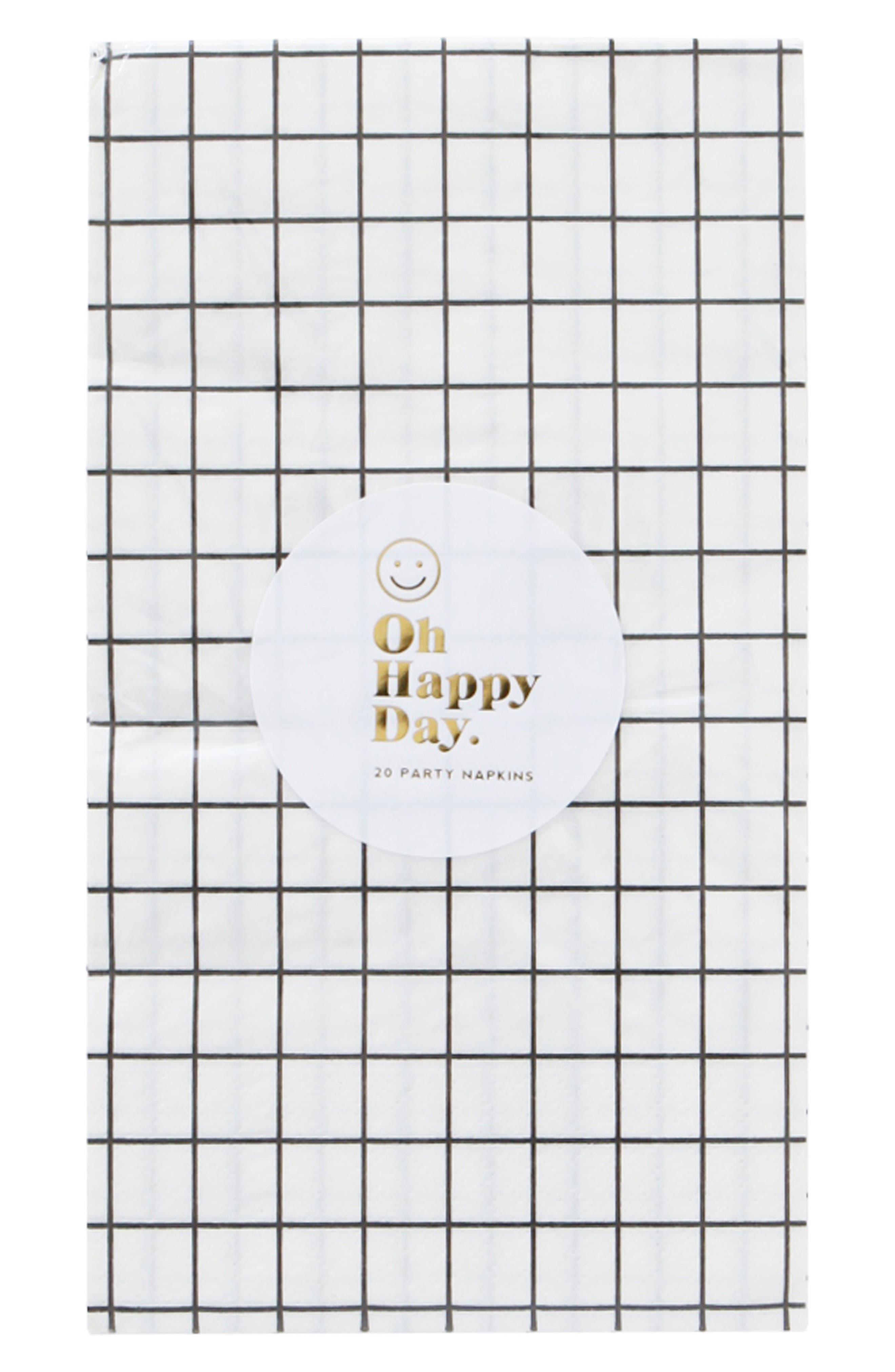 Oh Happy Day Black & White Paper Dinner Napkins