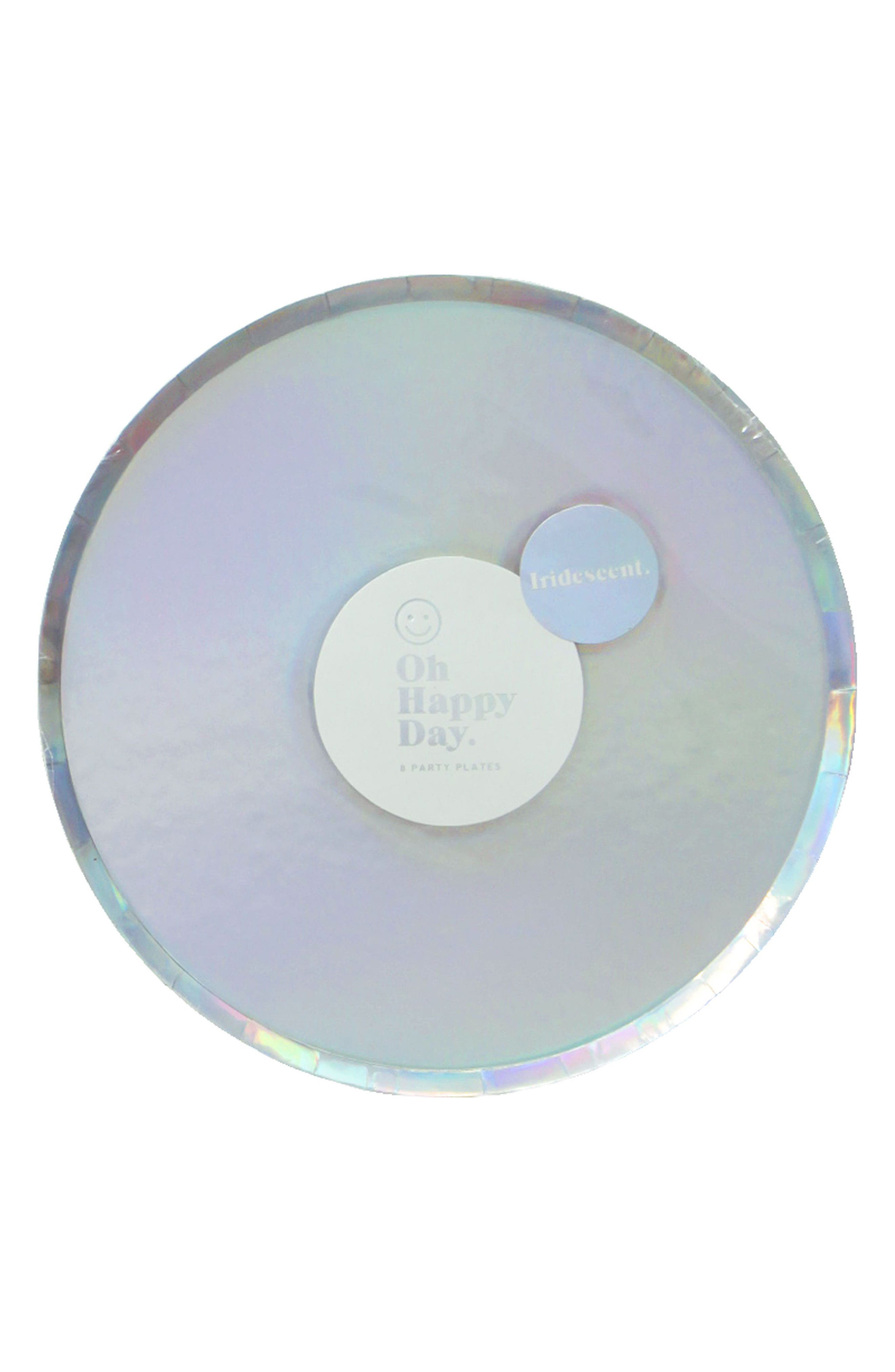 Oh Happy Day Set of 8 Iridescent 7-Inch Paper Party Plates